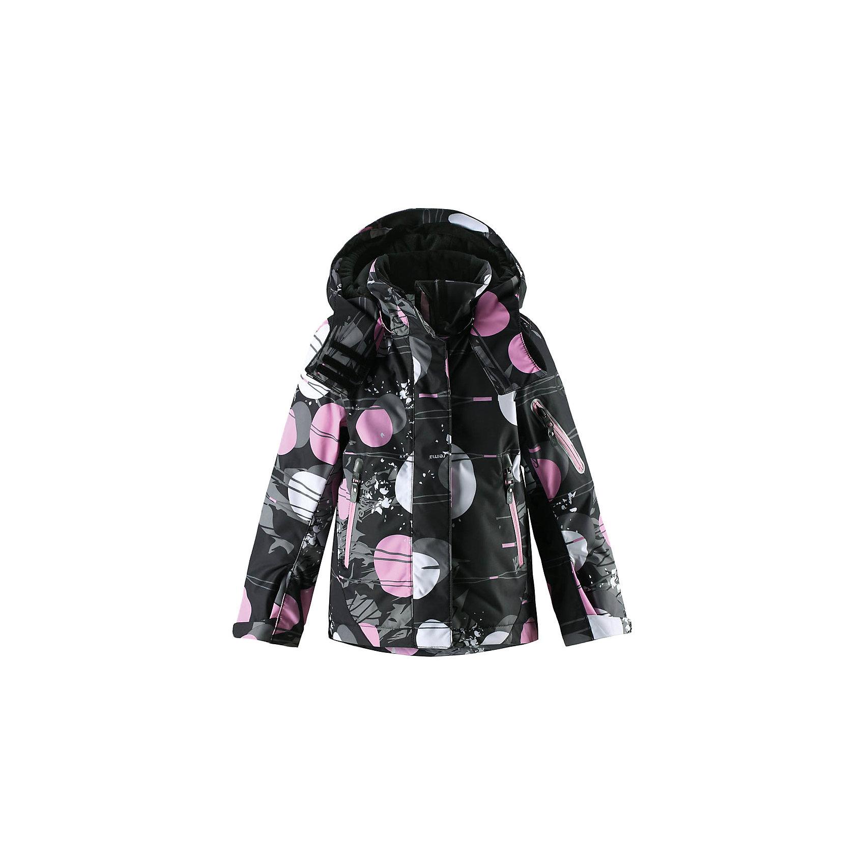 Куртка Reimatec® Reima Roxana для девочкиЗимние куртки<br>Детская абсолютно непромокаемая и ветронепроницаемая зимняя куртка Reimatec® с множеством функциональных деталей. Куртка с проклеенными швами сшита из специального, водо- и грязеотталкивающего и дышащего материала. Эта куртка с подкладкой из гладкого полиэстера легко надевается, и ее очень удобно носить с теплым промежуточным слоем. Манжеты и подол куртки регулируются, так что ее можно подогнать точно по фигуре. Снежную юбку можно пристегнуть к подкладке, если она не используется. <br><br>Съемный и регулируемый капюшон безопасен во время игр на свежем воздухе, он легко отстегнется, если вдруг за что-нибудь зацепится. Капюшон также оснащен козырьком и отворотом, защищающим шею от ветра. Отделку этой модной зимней модели довершают контрастные молнии на карманах, карман для лыжной карты на рукаве, нагрудный карман и карманы на молнии и специальный карман для сенсора ReimaGO. Эта куртка очень проста в уходе, кроме того, ее можно сушить в стиральной машине. Благодаря множеству практичных деталей эта прочная куртка просто создана для зимних забав, и особенно для лыж и санок!<br>Состав:<br>100% Полиэстер<br><br>Ширина мм: 356<br>Глубина мм: 10<br>Высота мм: 245<br>Вес г: 519<br>Цвет: черный<br>Возраст от месяцев: 108<br>Возраст до месяцев: 120<br>Пол: Женский<br>Возраст: Детский<br>Размер: 140,104,110,116,122,128,134<br>SKU: 6901449