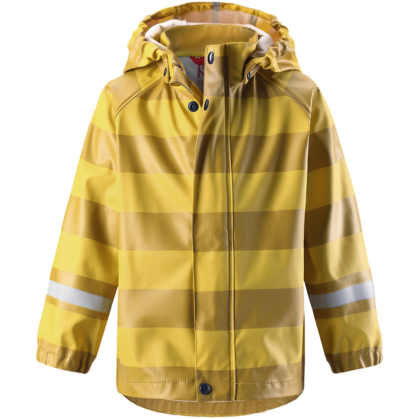 Плащ-дождевик Vesi ReimaОдежда<br>Детская куртка-дождевик изготовлена из удобного, эластичного материала, не содержащего ПВХ. Швы запаяны и абсолютно водонепроницаемы. Куртка-дождевик не деревенеет на морозе, поэтому ее можно носить круглый год – просто добавьте в холодную погоду теплый промежуточный слой. Съемный капюшон защитит даже от ливня, при этом он безопасен во время прогулок в дождливый день. Молния спереди во всю длину и множество светоотражающих деталей. Сочетайте куртку с брюками для дождя Reima® и вы заметите – в дождь играть еще веселее!<br>Состав:<br>100% Полиэстер<br><br>Ширина мм: 356<br>Глубина мм: 10<br>Высота мм: 245<br>Вес г: 519<br>Цвет: желтый<br>Возраст от месяцев: 96<br>Возраст до месяцев: 108<br>Пол: Унисекс<br>Возраст: Детский<br>Размер: 134,140,86,92,98,104,110,116,122,128<br>SKU: 6901457
