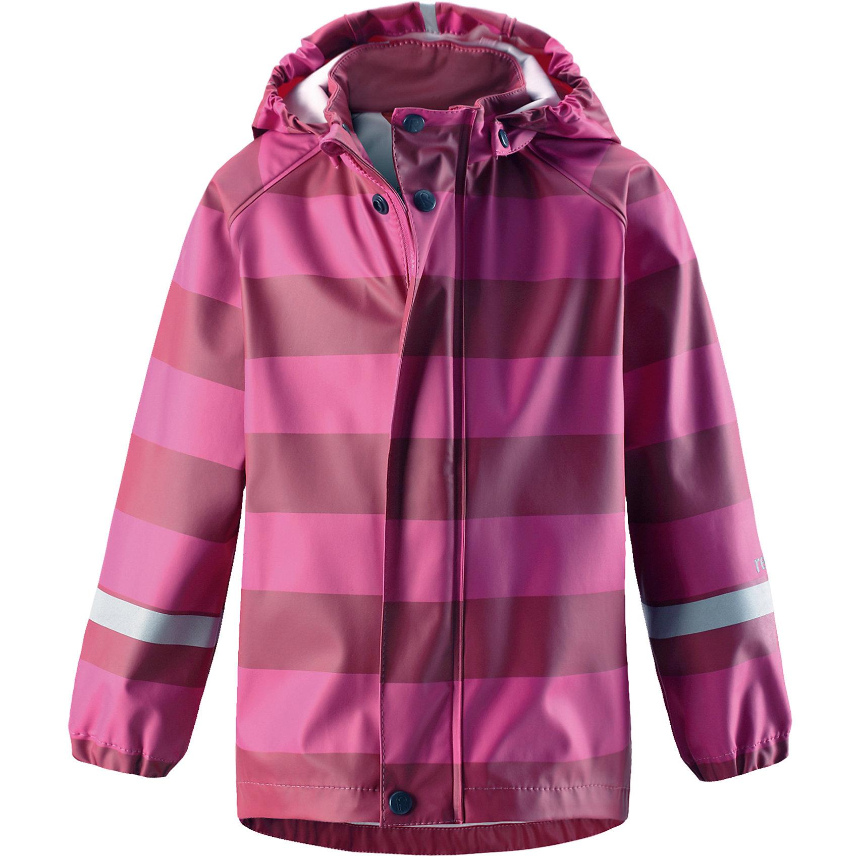 Плащ-дождевик Reima VesiОдежда<br>Детская куртка-дождевик изготовлена из удобного, эластичного материала, не содержащего ПВХ. Швы запаяны и абсолютно водонепроницаемы. Куртка-дождевик не деревенеет на морозе, поэтому ее можно носить круглый год – просто добавьте в холодную погоду теплый промежуточный слой. Съемный капюшон защитит даже от ливня, при этом он безопасен во время прогулок в дождливый день. Молния спереди во всю длину и множество светоотражающих деталей. Сочетайте куртку с брюками для дождя Reima® и вы заметите – в дождь играть еще веселее!<br>Состав:<br>100% Полиэстер<br><br>Ширина мм: 356<br>Глубина мм: 10<br>Высота мм: 245<br>Вес г: 519<br>Цвет: розовый<br>Возраст от месяцев: 108<br>Возраст до месяцев: 120<br>Пол: Унисекс<br>Возраст: Детский<br>Размер: 140,86,92,98,104,110,116,122,128,134<br>SKU: 6901479