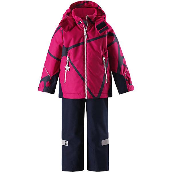 Комплект Reimatec® Reima Grane для девочкиВерхняя одежда<br>Характеристики товара:<br><br>• цвет: розовый;<br>• состав: 100% полиэстер;<br>• подкладка: 100% полиэстер;<br>• утеплитель: 160 г/м2;<br>• температурный режим: от 0 до -20С;<br>• сезон: зима; <br>• водонепроницаемость: 8000/10000 мм;<br>• воздухопроницаемость: 7000/5000 мм;<br>• износостойкость: 30000/50000 циклов (тест Мартиндейла);<br>• водо- и ветронепроницаемый, дышащий и грязеотталкивающий материал;<br>• все швы проклеены и водонепроницаемы;<br>• куртка на молнии с защитой подбородка, брюки с ширинкой на молнии и пуговицей;<br>• прочные усиленные вставки на рукавах и спинке;<br>• безопасный съемный капюшон;<br>• регулируемые манжеты на липучке;<br>• регулируемый подол;<br>• снегозащитные манжеты на штанинах;<br>• регулируемые и отстегивающиеся эластичные подтяжки;<br>• карманы на молнии;<br>• светоотражающие детали;<br>• страна бренда: Финляндия;<br>• страна изготовитель: Китай.<br><br>Сверхпрочный детский зимний комплект Reimatec ® Kiddo. Функциональная куртка Reimatec ® Kiddo изготовлена из износостойкого, дышащего, водо и ветронепроницаемого материала с водо и грязеотталкивающей поверхностью. Все швы проклеены, водонепроницаемы. Рукава и спинка снабжены прочными усилениями, которые защищают участки, больше всего подверженные износу во время подвижных игр и катания на санках. <br><br>У этой модели прямой покрой с регулируемой талией и подолом, так что силуэт можно сделать более облегающим. Концы рукавов тоже регулируются застежкой на липучке, как раз под ширину перчаток. Съемный капюшон защищает от холодного ветра, а еще обеспечивает дополнительную безопасность во время игр на улице – поскольку он легко отстегнется, если случайно за что-нибудь зацепится. <br><br>По краю капюшона предусмотрен ветроотражатель, который обеспечивает шее дополнительную защиту. В брюках имеется ширинка на молнии, регулируемые и съемные эластичными подтяжками, а также защита от снега на концах брючин. Комплект снабжен глад