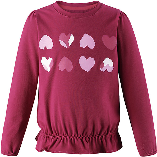 Футболка с длинным рукавом Reima Hilla для девочкиОдежда<br>Характеристики товара:<br><br>• цвет: темно-розовый;<br>• состав: 61% хлопок, 33% полиэстер, 6% эластан;<br>• быстросохнущий материал Play jersey, приятный на ощупь;<br>• мягкий хлопчатобумажный верх;<br>• внутренняя поверхность хорошо выводит влагу;<br>• уф-защита 40+;<br>• эластичные манжеты;<br>• эластичная сборка на плече и манжетах;<br>• оборка на подоле;<br>• страна бренда: Финляндия;<br>• страна изготовитель: Китай.<br><br>Футболка с длинными рукавами для малышей и детей постарше изготовлена из удобного быстросохнущего материала Play Jersey с УФ-защитой 40+. Лицевая поверхность этого особо мягкого хлопчатобумажного материала очень приятна на ощупь, а обратная сторона эффективно отводит влагу. <br><br>Благодаря эластану, ткань тянется, обеспечивает комфорт и не сковывает движений во время подвижных веселых игр. Обратите внимание, что одежду Play Jersey также можно носить круглый год – материал имеет УФ-защиту 40+. Образ довершает симпатичная оборка на подоле.<br><br>Футболку с длинным рукавом Hilla для девочки Reima от финского бренда Reima (Рейма) можно купить в нашем интернет-магазине.<br>Ширина мм: 230; Глубина мм: 40; Высота мм: 220; Вес г: 250; Цвет: розовый; Возраст от месяцев: 18; Возраст до месяцев: 24; Пол: Женский; Возраст: Детский; Размер: 116,110,104,98,92,140,134,128,122; SKU: 6901833;