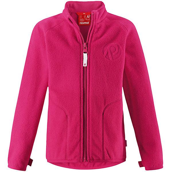 Флисовая кофта Reima Inrun для девочкиОдежда<br>Характеристики товара:<br><br>• цвет: фуксия;<br>• состав: 100% полиэстер, флис;<br>• быстро сохнет и сохраняет тепло;<br>• выводит влагу в верхние слои одежды;<br>• может пристегиваться к верхней одежде Reima® кнопками Play Layers®;<br>• эластичные манжеты и подол;<br>• молния по всей длине с защитой подбородка;<br>• два боковых кармана;<br>• страна бренда: Финляндия;<br>• страна производства: Китай.<br><br>Флисовая кофта на молнии превосходно послужит в качестве промежуточного слоя в морозные зимние дни – она теплая и очень мягкая на ощупь. Куртка изготовлена из легкого полярного флиса, дышащего и быстросохнущего материала. Молния во всю длину облегчает надевание, а защита для подбородка не дает поцарапать молнией шею и подбородок. <br><br>Эту практичную флисовую куртку легко можно пристегнуть к любой верхней одежде Reima®, оснащенной системой кнопок Play Layers®. Два боковых кармана и украшение в виде красивого сплошного рисунка. <br><br>Флисовую кофту Reima Inrun можно купить в нашем интернет-магазине.<br>Ширина мм: 190; Глубина мм: 74; Высота мм: 229; Вес г: 236; Цвет: розовый; Возраст от месяцев: 108; Возраст до месяцев: 120; Пол: Женский; Возраст: Детский; Размер: 140,92,98,104,110,116,122,128,134; SKU: 6901853;