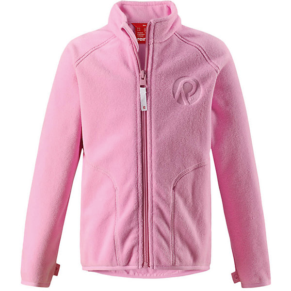 Флисовая кофта Reima Inrun для девочкиОдежда<br>Характеристики товара:<br><br>• цвет: розовый;<br>• состав: 100% полиэстер, флис;<br>• быстро сохнет и сохраняет тепло;<br>• выводит влагу в верхние слои одежды;<br>• может пристегиваться к верхней одежде Reima® кнопками Play Layers®;<br>• эластичные манжеты и подол;<br>• молния по всей длине с защитой подбородка;<br>• два боковых кармана;<br>• страна бренда: Финляндия;<br>• страна производства: Китай.<br><br>Флисовая кофта на молнии превосходно послужит в качестве промежуточного слоя в морозные зимние дни – она теплая и очень мягкая на ощупь. Куртка изготовлена из легкого полярного флиса, дышащего и быстросохнущего материала. Молния во всю длину облегчает надевание, а защита для подбородка не дает поцарапать молнией шею и подбородок. <br><br>Эту практичную флисовую куртку легко можно пристегнуть к любой верхней одежде Reima®, оснащенной системой кнопок Play Layers®. Два боковых кармана и украшение в виде красивого сплошного рисунка. <br><br>Флисовую кофту Reima Inrun можно купить в нашем интернет-магазине.<br>Ширина мм: 190; Глубина мм: 74; Высота мм: 229; Вес г: 236; Цвет: розовый; Возраст от месяцев: 48; Возраст до месяцев: 60; Пол: Женский; Возраст: Детский; Размер: 110,140,92,98,104,116,122,128,134; SKU: 6901863;