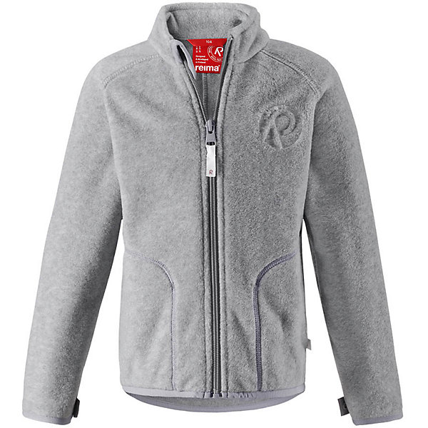 Флисовая кофта Reima Inrun для мальчикаОдежда<br>Характеристики товара:<br><br>• цвет: серый;<br>• состав: 100% полиэстер, флис;<br>• быстро сохнет и сохраняет тепло;<br>• выводит влагу в верхние слои одежды;<br>• может пристегиваться к верхней одежде Reima® кнопками Play Layers®;<br>• эластичные манжеты и подол;<br>• молния по всей длине с защитой подбородка;<br>• два боковых кармана;<br>• страна бренда: Финляндия;<br>• страна производства: Китай.<br><br>Флисовая кофта на молнии превосходно послужит в качестве промежуточного слоя в морозные зимние дни – она теплая и очень мягкая на ощупь. Куртка изготовлена из легкого полярного флиса, дышащего и быстросохнущего материала. Молния во всю длину облегчает надевание, а защита для подбородка не дает поцарапать молнией шею и подбородок. <br><br>Эту практичную флисовую куртку легко можно пристегнуть к любой верхней одежде Reima®, оснащенной системой кнопок Play Layers®. Два боковых кармана и украшение в виде красивого сплошного рисунка. <br><br>Флисовую кофту Reima Inrun можно купить в нашем интернет-магазине.<br>Ширина мм: 190; Глубина мм: 74; Высота мм: 229; Вес г: 236; Цвет: серый; Возраст от месяцев: 84; Возраст до месяцев: 96; Пол: Мужской; Возраст: Детский; Размер: 128,122,98,92,116,110,104,140,134; SKU: 6901893;