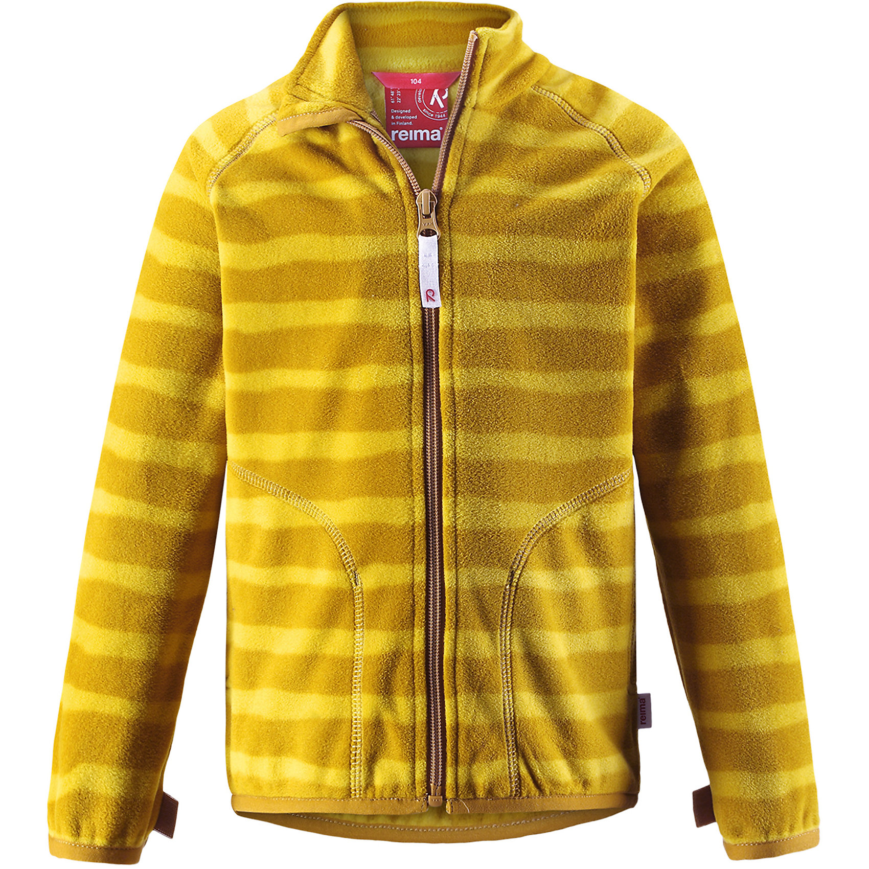 Флисовая кофта Reima SteppeТолстовки<br>Характеристики товара:<br><br>• цвет: желтый;<br>• состав: 100% полиэстер;<br>• сезон: зима;<br>• застежка: молния по всей длине с защитой подбородка;<br>• выводит влагу наружу;<br>• теплый, легкий и быстросохнущий флис;<br>• может пристегиваться к верхней одежде Reima® кнопками Play Layers®;<br>• эластичные манжеты и подол;<br>• два боковых кармана;<br>• страна бренда: Финляндия;<br>• страна изготовитель: Китай.<br><br>Супер удобная детская флисовая куртка превосходно послужит в качестве промежуточного слоя в морозные зимние дни – она теплая и очень мягкая на ощупь. Эта куртка изготовлена из легкого полярного флиса, дышащего и быстросохнущего материала. <br><br>Молния во всю длину облегчает надевание, а защита для подбородка не дает поцарапать молнией шею и подбородок. Практичную флисовую куртку легко можно пристегнуть к любой верхней одежде Reima®, оснащенной системой кнопок Play Layers®. Два боковых кармана и украшение в виде яркого рисунка.<br><br>Флисовая кофта Reima Steppe от финского бренда Reima (Рейма) можно купить в нашем интернет-магазине.<br><br>Ширина мм: 190<br>Глубина мм: 74<br>Высота мм: 229<br>Вес г: 236<br>Цвет: желтый<br>Возраст от месяцев: 108<br>Возраст до месяцев: 120<br>Пол: Унисекс<br>Возраст: Детский<br>Размер: 140,92,98,104,110,116,122,128,134<br>SKU: 6901949