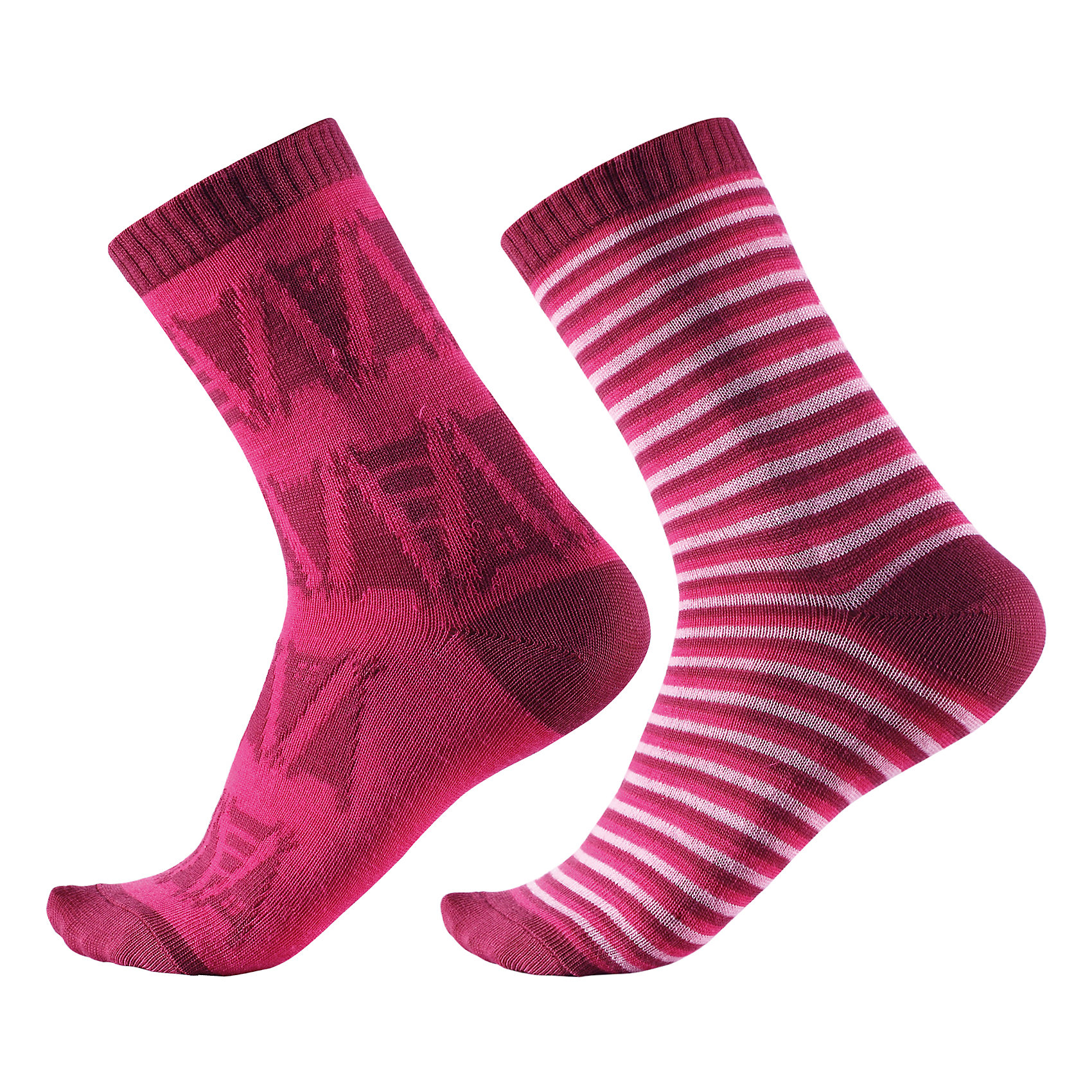 Носки Reima Strum, 2 парыНоски<br>Характеристики товара:<br><br>• цвет: розовый;<br>• состав: 55% шерсть, 35% полиэстер, 8% полиамид, 2% эластан;<br>• сезон: зима;<br>• легкая ткань без вставок;<br>• быстро сохнут и сохраняют тепло;<br>• шерсть идеально поддерживает температуру;<br>• страна бренда: Финляндия;<br>• страна изготовитель: Китай.<br><br>Модные и яркие длинные детские носки изготовлены из теплого и мягкого полушерстяного трикотажа. Носки превосходно регулируют температуру, особенно в морозные зимние дни! Эластичный шерстяной трикотаж отлично пропускает воздух и быстро сохнет, поэтому ребенку будет максимально комфортно во время веселых прогулок. Облегченная модель без усилений на подошве.<br><br>Носки Strum Reima от финского бренда Reima (Рейма) можно купить в нашем интернет-магазине.<br><br>Ширина мм: 87<br>Глубина мм: 10<br>Высота мм: 105<br>Вес г: 115<br>Цвет: розовый<br>Возраст от месяцев: 168<br>Возраст до месяцев: 1188<br>Пол: Унисекс<br>Возраст: Детский<br>Размер: 34-37,22-25,26-29,30-33<br>SKU: 6902053