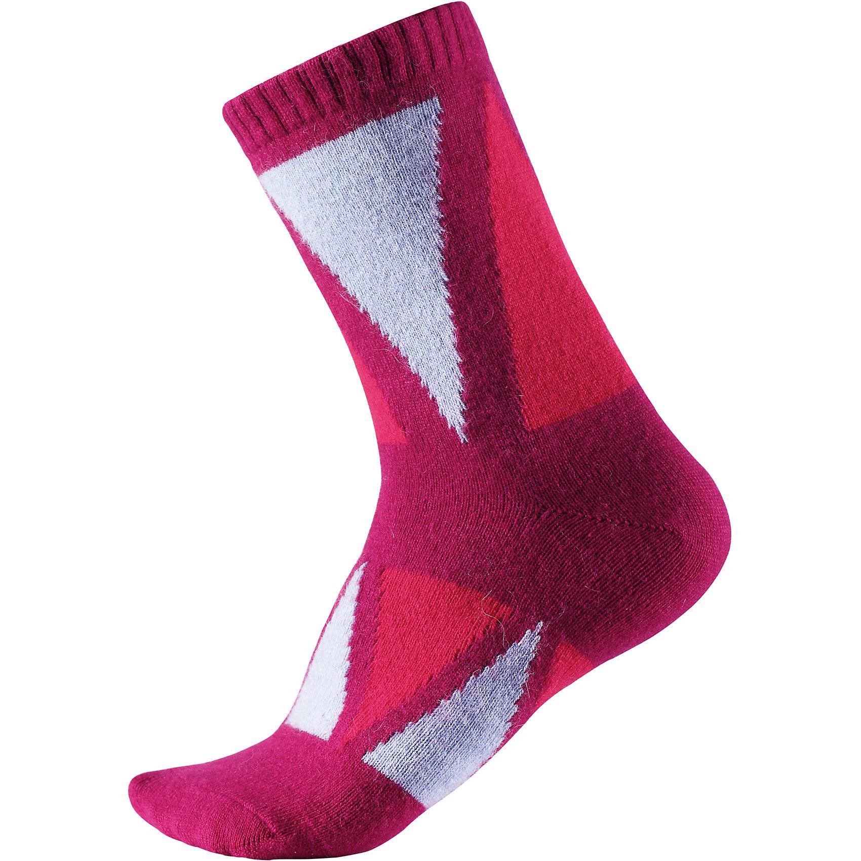 Носки Savo ReimaНоски<br>Эти классные и яркие длинные детские носки из шерстяного трикотажа – отличный выбор для любителей активных прогулок! Носки изготовлены из теплой и мягкой ангорской полушерсти и превосходно регулируют температуру, особенно в морозные зимние дни! Эластичный шерстяной трикотаж отлично пропускает воздух и быстро сохнет, поэтому ребенку будет максимально комфортно во время веселых прогулок. Облегченная модель без усилений на подошве.<br>Состав:<br>36% Вискоза, 34% Полиамид, 20% Шерсть, 7% Полиэстер, 3% Эластан<br><br>Ширина мм: 87<br>Глубина мм: 10<br>Высота мм: 105<br>Вес г: 115<br>Цвет: розовый<br>Возраст от месяцев: 168<br>Возраст до месяцев: 1188<br>Пол: Унисекс<br>Возраст: Детский<br>Размер: 34-37,22-25,26-29,30-33<br>SKU: 6902068
