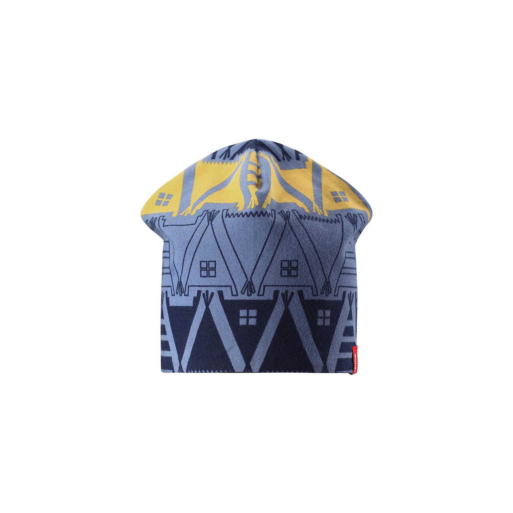 Шапка Reima HirviГоловные уборы<br>Характеристики товара:<br><br>• цвет: синий/темно-синий;<br>• состав: 61% хлопок, 33% полиэстер, 6% эластан;<br>• сезон: демисезон;<br>• температурный режим: от +5 до +15С;<br>• двухсторонняя шапка;<br>• быстросохнущий материал Play jersey, приятный на ощупь;<br>• выводит влагу наружу;<br>• мягкий хлопчатобумажный материал;<br>• фактор защиты от ультрафиолета 40+;<br>• сплошная подкладка: материал Play jersey;<br>• логотип Reima® сбоку;<br>• страна бренда: Финляндия;<br>• страна изготовитель: Китай.<br><br>Легкая двусторонняя шапка для малышей и детей постарше свежей расцветки с УФ-защитой 40+. Шапка изготовлена из дышащего и быстросохнущего материла Play Jersey®, эффективно выводящего влагу с кожи. Озорная двухсторонняя шапка меняет цвет в одно мгновение.<br><br>Шапку Hirvi Reima от финского бренда Reima (Рейма) можно купить в нашем интернет-магазине.<br><br>Ширина мм: 89<br>Глубина мм: 117<br>Высота мм: 44<br>Вес г: 155<br>Цвет: синий<br>Возраст от месяцев: 72<br>Возраст до месяцев: 84<br>Пол: Унисекс<br>Возраст: Детский<br>Размер: 54-56,50-52<br>SKU: 6902486