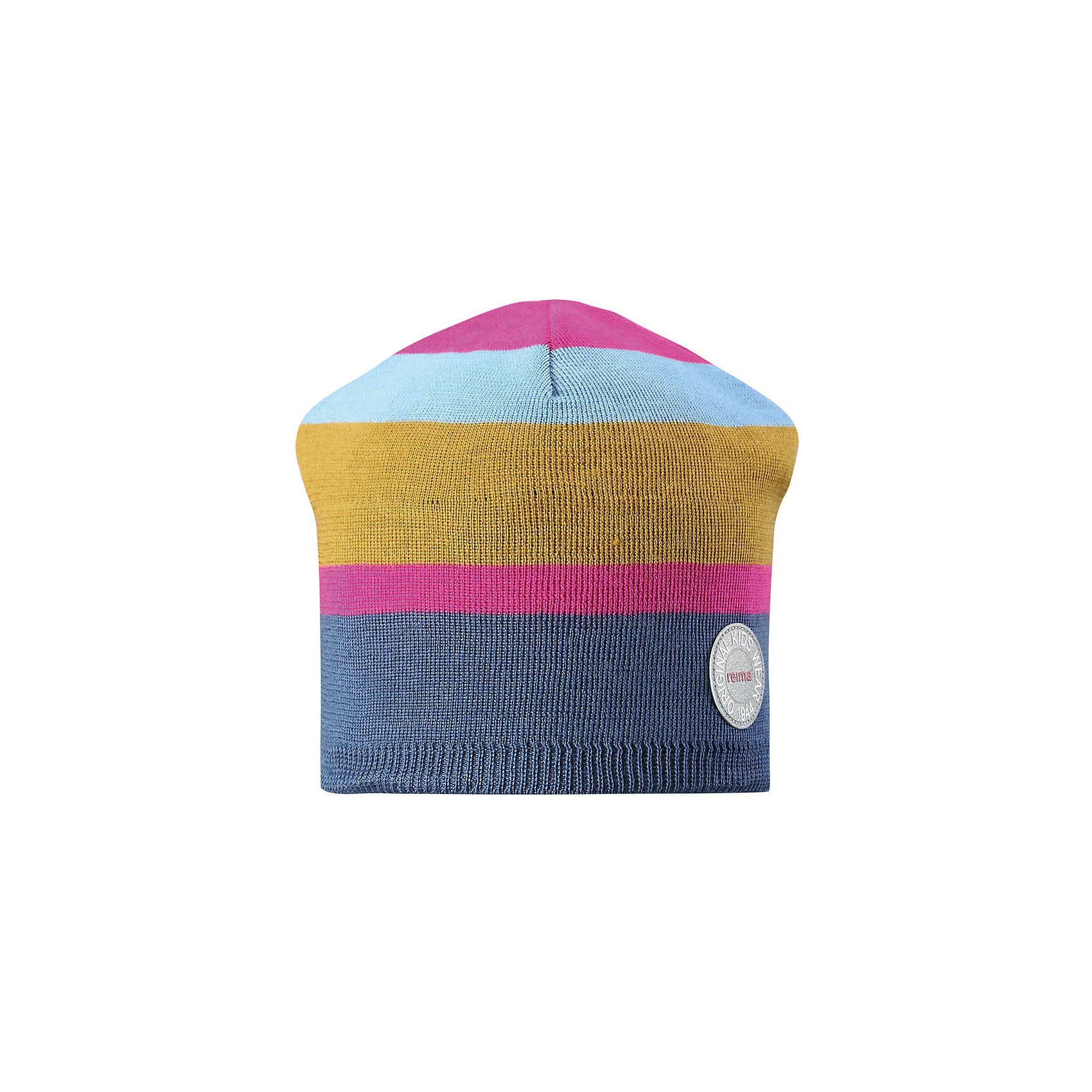 Шапка Reima NebulaГоловные уборы<br>Характеристики товара:<br><br>• цвет: синий/розовый;<br>• состав: 50% шерсть, 50% полиакрил;<br>• сезон: зима;<br>• температурный режим: от +5 до -10С;<br>• шерсть идеально поддерживает температуру;<br>• мягкая и теплая ткань из смеси шерсти;<br>• ветронепроницаемые вставки в области ушей;<br>• частичная подкладка;<br>• логотип Reima® спереди;<br>• страна бренда: Финляндия;<br>• страна изготовитель: Китай.<br><br>Детская шапка из теплого шерстяного трикотажа. Материал превосходно регулирует температуру и хорошо согревает голову. Ветронепроницаемые вставки и полуподкладка из мягкого и дышащего вязаного хлопка. Сплошная жаккардовая узорная вязка. Теплый, удобный, эластичный материал.<br><br>Шапку Nebula Reima от финского бренда Reima (Рейма) можно купить в нашем интернет-магазине.<br><br>Ширина мм: 89<br>Глубина мм: 117<br>Высота мм: 44<br>Вес г: 155<br>Цвет: розовый<br>Возраст от месяцев: 84<br>Возраст до месяцев: 144<br>Пол: Унисекс<br>Возраст: Детский<br>Размер: 56,50,52,54<br>SKU: 6902500