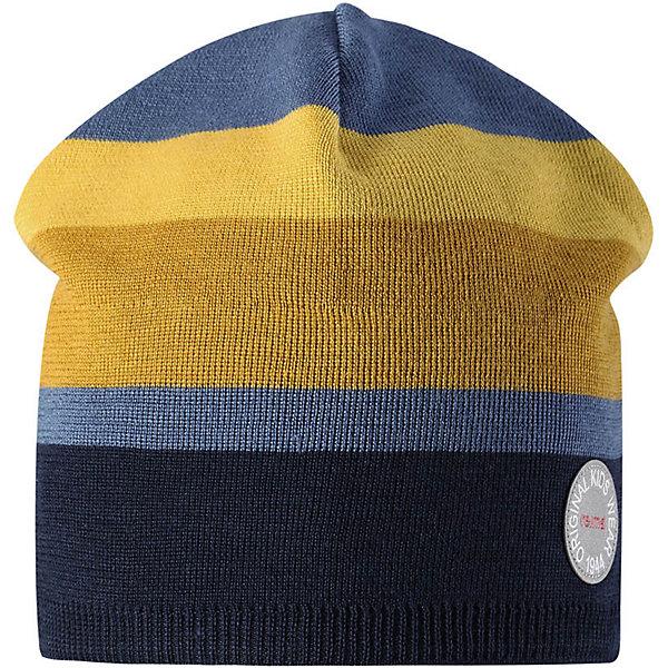 Шапка Reima Nebula для мальчикаШапки и шарфы<br>Характеристики товара:<br><br>• цвет: синий/желтый;<br>• состав: 50% шерсть, 50% полиакрил;<br>• сезон: зима;<br>• температурный режим: от +5 до -10С;<br>• шерсть идеально поддерживает температуру;<br>• мягкая и теплая ткань из смеси шерсти;<br>• ветронепроницаемые вставки в области ушей;<br>• частичная подкладка;<br>• логотип Reima® спереди;<br>• страна бренда: Финляндия;<br>• страна изготовитель: Китай.<br><br>Детская шапка из теплого шерстяного трикотажа. Материал превосходно регулирует температуру и хорошо согревает голову. Ветронепроницаемые вставки и полуподкладка из мягкого и дышащего вязаного хлопка. Сплошная жаккардовая узорная вязка. Теплый, удобный, эластичный материал.<br><br>Шапку Nebula Reima от финского бренда Reima (Рейма) можно купить в нашем интернет-магазине.<br>Ширина мм: 89; Глубина мм: 117; Высота мм: 44; Вес г: 155; Цвет: синий; Возраст от месяцев: 36; Возраст до месяцев: 48; Пол: Мужской; Возраст: Детский; Размер: 50,56,54,52; SKU: 6902510;