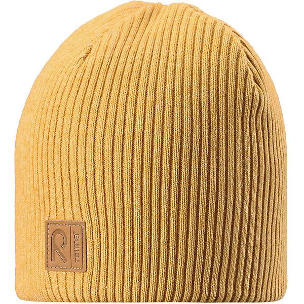Шапка Reima KatajaШапки и шарфы<br>Характеристики товара:<br><br>• цвет: желтый;<br>• состав: 85% хлопок, 15% шерсть;<br>• сезон: демисезон;<br>• температурный режим: от +5 до +15С;<br>• мягкий и удобный трикотаж из смеси хлопка и шерсти;<br>• ветронепроницаемые вставки в области ушей;<br>• логотип Reima® спереди;<br>• страна бренда: Финляндия;<br>• страна изготовитель: Китай.<br><br>Детская базовая шапка сшита из удобного трикотажа из смеси хлопка и шерсти. Для пошива использован теплый, эластичный и дышащий материал. Снабжена ветронепроницаемыми вставками в области ушей.<br><br>Шапку Kataja Reima от финского бренда Reima (Рейма) можно купить в нашем интернет-магазине.<br>Ширина мм: 89; Глубина мм: 117; Высота мм: 44; Вес г: 155; Цвет: желтый; Возраст от месяцев: 72; Возраст до месяцев: 84; Пол: Унисекс; Возраст: Детский; Размер: 54-56,50-52; SKU: 6902538;