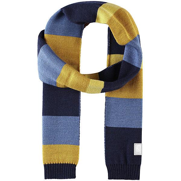 Шарф Reima Nyland для мальчикаШапки и шарфы<br>Характеристики товара:<br><br>• цвет: синий/желтый;<br>• состав: 50% шерсть, 50% полиакрил;<br>• сезон: зима;<br>• температурный режим: от 0С;<br>• шерсть идеально поддерживает температуру;<br>• мягкая и теплая ткань из смеси шерсти;<br>• логотип Reima® спереди;<br>• страна бренда: Финляндия;<br>• страна изготовитель: Китай.<br><br>Детский зимний шарф изготовлен из мягкого и теплого шерстяного трикотажа. Эластичный и дышащий материал обеспечивает хорошую терморегуляцию. Снабжен светоотражающей эмблемой Reima.<br><br>Шарф Nyland Reima от финского бренда Reima (Рейма) можно купить в нашем интернет-магазине.<br>Ширина мм: 88; Глубина мм: 155; Высота мм: 26; Вес г: 106; Цвет: синий; Возраст от месяцев: 48; Возраст до месяцев: 168; Пол: Мужской; Возраст: Детский; Размер: one size; SKU: 6902549;