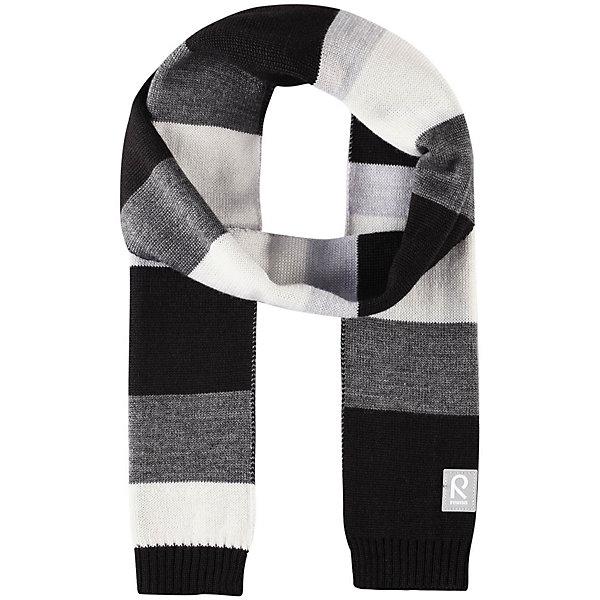 Шарф Reima NylandШарфы, платки<br>Характеристики товара:<br><br>• цвет: черный/белый;<br>• состав: 50% шерсть, 50% полиакрил;<br>• сезон: зима;<br>• температурный режим: от 0С;<br>• шерсть идеально поддерживает температуру;<br>• мягкая и теплая ткань из смеси шерсти;<br>• логотип Reima® спереди;<br>• страна бренда: Финляндия;<br>• страна изготовитель: Китай.<br><br>Детский зимний шарф изготовлен из мягкого и теплого шерстяного трикотажа. Эластичный и дышащий материал обеспечивает хорошую терморегуляцию. Снабжен светоотражающей эмблемой Reima.<br><br>Шарф Nyland Reima от финского бренда Reima (Рейма) можно купить в нашем интернет-магазине.<br>Ширина мм: 88; Глубина мм: 155; Высота мм: 26; Вес г: 106; Цвет: серый; Возраст от месяцев: 48; Возраст до месяцев: 168; Пол: Унисекс; Возраст: Детский; Размер: one size; SKU: 6902551;