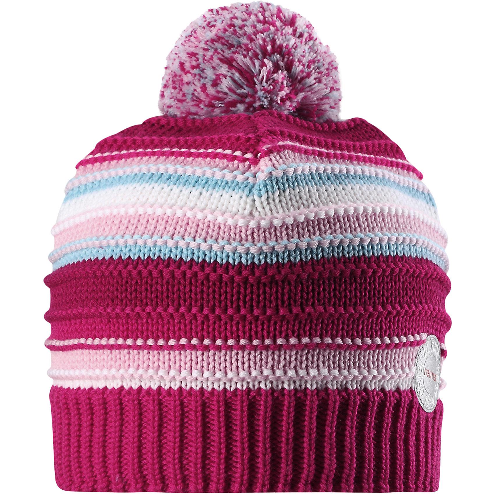 Шапка Reima HurmosГоловные уборы<br>Характеристики товара:<br><br>• цвет: розовый;<br>• состав: 100% шерсть;<br>• подкладка: 97% хлопок, 3% эластан;<br>• утеплитель: 40 г/м2;<br>• сезон: зима;<br>• температурный режим: от 0 до -20С;<br>• мягкая ткань из мериносовой шерсти для поддержания идеальной температуры тела;<br>• ветронепроницаемые вставки в области ушей;<br>• сплошная подкладка: мягкий теплый флис;<br>• шапка с помпоном;<br>• логотип Reima® сзади;<br>• страна бренда: Финляндия;<br>• страна изготовитель: Китай.<br><br>Шапка для малышей и детей постарше изготовлена из дышащей и теплой мериносовой шерсти. Мягкая флисовая подкладка гарантирует тепло, а ветронепроницаемые вставки между верхним слоем и подкладкой защищают уши. Помпон на макушке.<br><br>Шапку Hurmos Reima от финского бренда Reima (Рейма) можно купить в нашем интернет-магазине.<br><br>Ширина мм: 89<br>Глубина мм: 117<br>Высота мм: 44<br>Вес г: 155<br>Цвет: розовый<br>Возраст от месяцев: 84<br>Возраст до месяцев: 144<br>Пол: Унисекс<br>Возраст: Детский<br>Размер: 56,50,52,54<br>SKU: 6902676