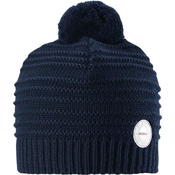 Шапка Reima Hurmos для мальчикаШапки и шарфы<br>Характеристики товара:<br><br>• цвет: темно-синий;<br>• состав: 100% шерсть;<br>• подкладка: 97% хлопок, 3% эластан;<br>• утеплитель: 40 г/м2;<br>• сезон: зима;<br>• температурный режим: от 0 до -20С;<br>• мягкая ткань из мериносовой шерсти для поддержания идеальной температуры тела;<br>• ветронепроницаемые вставки в области ушей;<br>• сплошная подкладка: мягкий теплый флис;<br>• шапка с помпоном;<br>• логотип Reima® сзади;<br>• страна бренда: Финляндия;<br>• страна изготовитель: Китай.<br><br>Шапка для малышей и детей постарше изготовлена из дышащей и теплой мериносовой шерсти. Мягкая флисовая подкладка гарантирует тепло, а ветронепроницаемые вставки между верхним слоем и подкладкой защищают уши. Помпон на макушке.<br><br>Шапку Hurmos Reima от финского бренда Reima (Рейма) можно купить в нашем интернет-магазине.<br>Ширина мм: 89; Глубина мм: 117; Высота мм: 44; Вес г: 155; Цвет: синий; Возраст от месяцев: 60; Возраст до месяцев: 72; Пол: Мужской; Возраст: Детский; Размер: 52,50,56,54; SKU: 6902686;