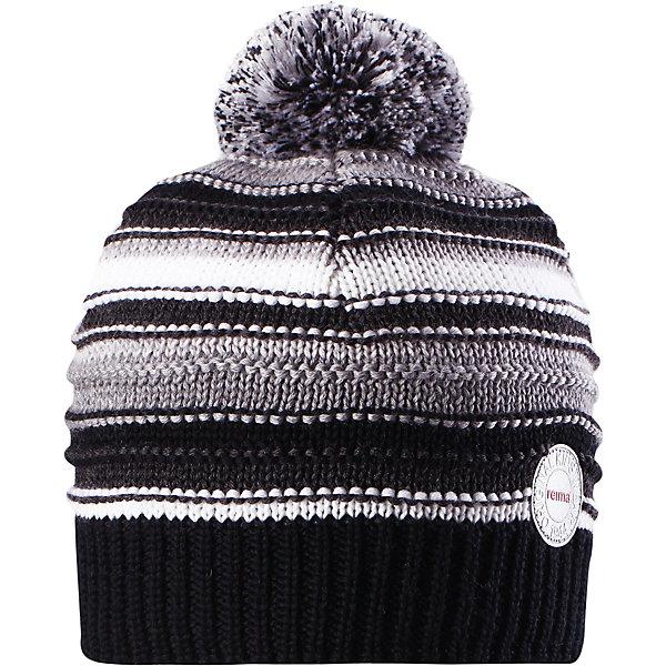 Шапка Reima Hurmos для мальчикаШапки и шарфы<br>Характеристики товара:<br><br>• цвет: черный;<br>• состав: 100% шерсть;<br>• подкладка: 97% хлопок, 3% эластан;<br>• утеплитель: 40 г/м2;<br>• сезон: зима;<br>• температурный режим: от 0 до -20С;<br>• мягкая ткань из мериносовой шерсти для поддержания идеальной температуры тела;<br>• ветронепроницаемые вставки в области ушей;<br>• сплошная подкладка: мягкий теплый флис;<br>• шапка с помпоном;<br>• логотип Reima® сзади;<br>• страна бренда: Финляндия;<br>• страна изготовитель: Китай.<br><br>Шапка для малышей и детей постарше изготовлена из дышащей и теплой мериносовой шерсти. Мягкая флисовая подкладка гарантирует тепло, а ветронепроницаемые вставки между верхним слоем и подкладкой защищают уши. Помпон на макушке.<br><br>Шапку Hurmos Reima от финского бренда Reima (Рейма) можно купить в нашем интернет-магазине.<br>Ширина мм: 89; Глубина мм: 117; Высота мм: 44; Вес г: 155; Цвет: серый; Возраст от месяцев: 36; Возраст до месяцев: 48; Пол: Мужской; Возраст: Детский; Размер: 50,56,54,52; SKU: 6902696;