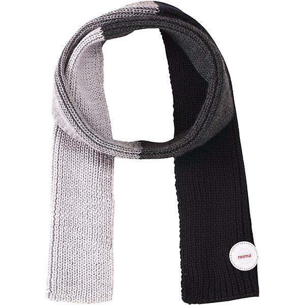 Шарф Reima KesyШарфы, платки<br>Характеристики товара:<br><br>• цвет: черный/серый;<br>• состав: 100% шерсть;<br>• сезон: зима;<br>• температурный режим: от 0 до -20С;<br>• мягкая ткань из мериносовой шерсти для поддержания идеальной температуры тела;<br>• светоотражающий логотип Reima®;<br>• страна бренда: Финляндия;<br>• страна изготовитель: Китай.<br><br>Детский зимний шарф изготовлен из мягкой и теплой мериносовой шерсти. Эластичный и дышащий материал обеспечивает хорошую терморегуляцию. Снабжен светоотражающей эмблемой Reima.<br><br>Шарф Kesy Reima от финского бренда Reima (Рейма) можно купить в нашем интернет-магазине.<br><br>Ширина мм: 88<br>Глубина мм: 155<br>Высота мм: 26<br>Вес г: 106<br>Цвет: серый<br>Возраст от месяцев: 48<br>Возраст до месяцев: 168<br>Пол: Унисекс<br>Возраст: Детский<br>Размер: one size<br>SKU: 6902707