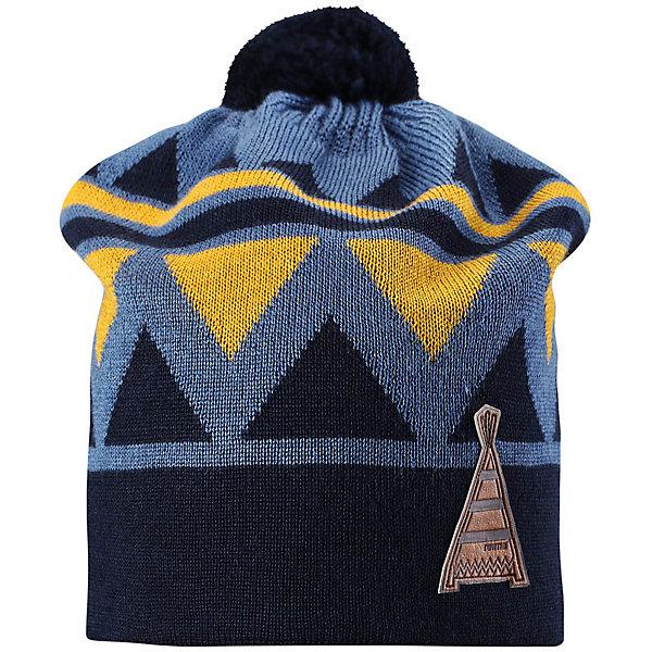 Шапка Reima Latsa для мальчикаЗимние<br>Характеристики товара:<br><br>• цвет: синий;<br>• состав: 50% шерсть, 50% полиакрил;<br>• подкладка: 100% хлопок;<br>• без дополнительного утепления;<br>• сезон: зима;<br>• температурный режим: от 0 до -20С;<br>• шерсть идеально поддерживает температуру;<br>• ветронепроницаемые вставки в области ушей;<br>• частичная подкладка: мягкий вязаный хлопок;<br>• мягкая и теплая ткань из смеси шерсти;<br>• шапка с помпоном;<br>• логотип Reima® сбоку;<br>• страна бренда: Финляндия;<br>• страна изготовитель: Китай.<br><br>Детская шапка из теплого шерстяного трикотажа. Материал превосходно регулирует температуру и хорошо согревает голову. Ветронепроницаемые вставки и полуподкладка из мягкого и дышащего вязаного хлопка. Сплошная жаккардовая узорная вязка. Помпон на макушке довершает образ!<br><br>Шапку Latsa Reima от финского бренда Reima (Рейма) можно купить в нашем интернет-магазине.<br><br>Ширина мм: 89<br>Глубина мм: 117<br>Высота мм: 44<br>Вес г: 155<br>Цвет: синий<br>Возраст от месяцев: 72<br>Возраст до месяцев: 84<br>Пол: Мужской<br>Возраст: Детский<br>Размер: 54-56,50-52<br>SKU: 6902852