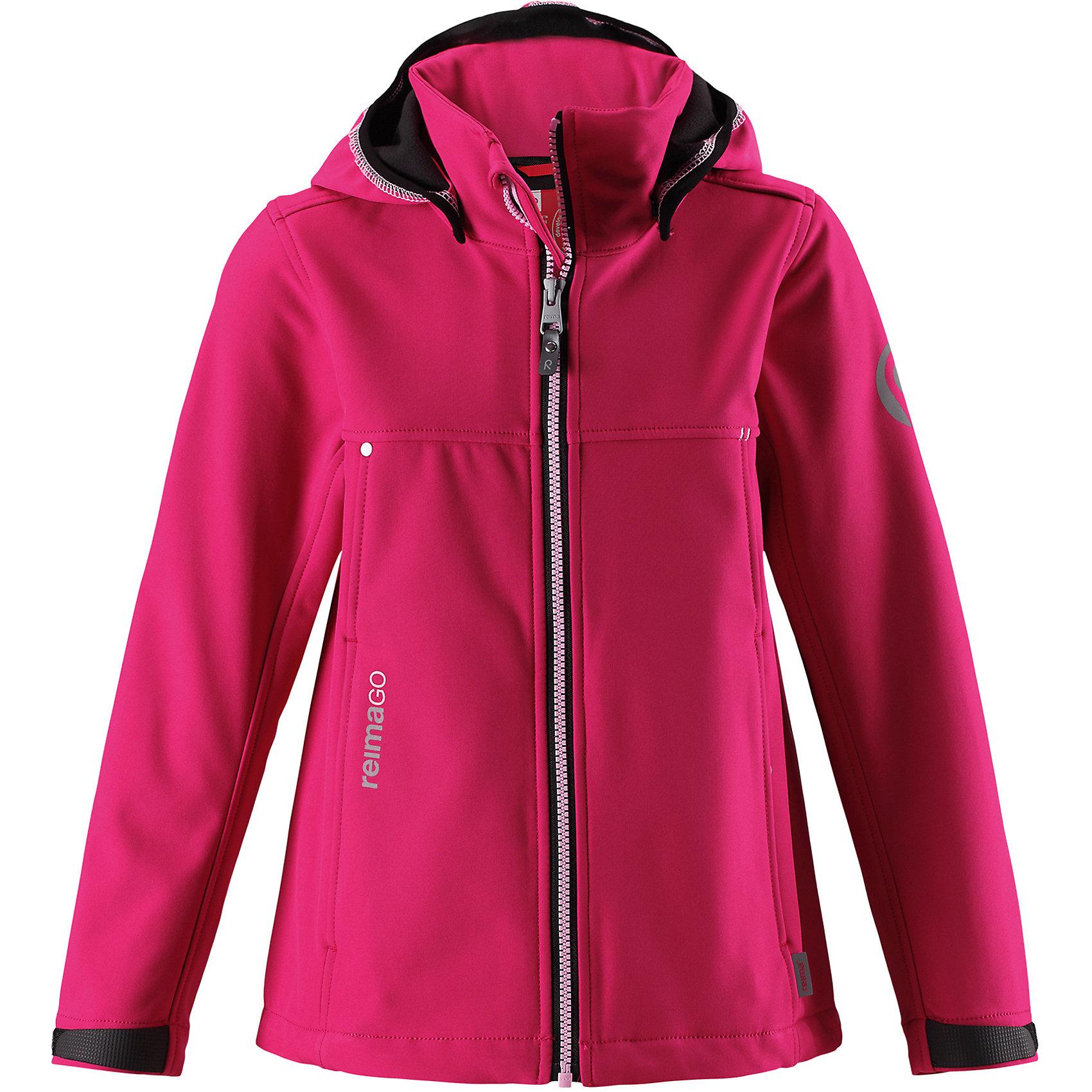 Куртка Reima Cornise для девочкиФлис и термобелье<br>Характеристики товара:<br><br>• цвет: розовый;<br>• состав: 95% полиэстер, 5% эластан;<br>• подкладка: 100% полиэстер, флис<br>• без дополнительного утепления;<br>• сезон: демисезон;<br>• температурный режим: от 0 до +15С;<br>• водонепроницаемость: 10000 мм;<br>• воздухопроницаемость: 50000 мм;<br>• куртка из материала softshell;<br>• из ветронепроницаемого материала, но изделие дышит;<br>• водоотталкивающий, ветронепроницаемый и дышащий материал;<br>• флис на оборотной стороне;<br>• безопасный, съемный капюшон;<br>• эластичная резинка на кромке капюшона;<br>• регулируемые манжеты на липучке;<br>• регулируемый обхват талии;<br>• два кармана на молнии;<br>• карман с креплением для сенсора ReimaGO®;<br>• светоотражающие детали;<br>• страна бренда: Финляндия;<br>• страна изготовитель: Китай.<br><br>Демисезонная куртка для детей и подростков изготовлена из функционального материала softshell –водоотталкивающего, ветронепроницаемого, и в то же время дышащего. Многослойный материал имеет мягкую флисовую изнанку. Регулируемая талия позволяет отрегулировать эту приталенную модель по фигуре, а регулируемые манжеты снабжены застежками на липучке. <br><br>В этой куртке предусмотрено множество практичных деталей: безопасный съемный капюшон с эластичной резинкой по краю, карманы на молнии и светоотражающие элементы – отличный выбор, куда бы вы не пошли. Сенсор ReimaGO будет надежно закреплен на месте благодаря специальным кнопкам.<br><br>Куртку Cornise для девочки Reima от финского бренда Reima (Рейма) можно купить в нашем интернет-магазине.<br><br>Ширина мм: 356<br>Глубина мм: 10<br>Высота мм: 245<br>Вес г: 519<br>Цвет: розовый<br>Возраст от месяцев: 156<br>Возраст до месяцев: 168<br>Пол: Женский<br>Возраст: Детский<br>Размер: 164,104,110,116,122,128,134,140,146,152,158<br>SKU: 6902884