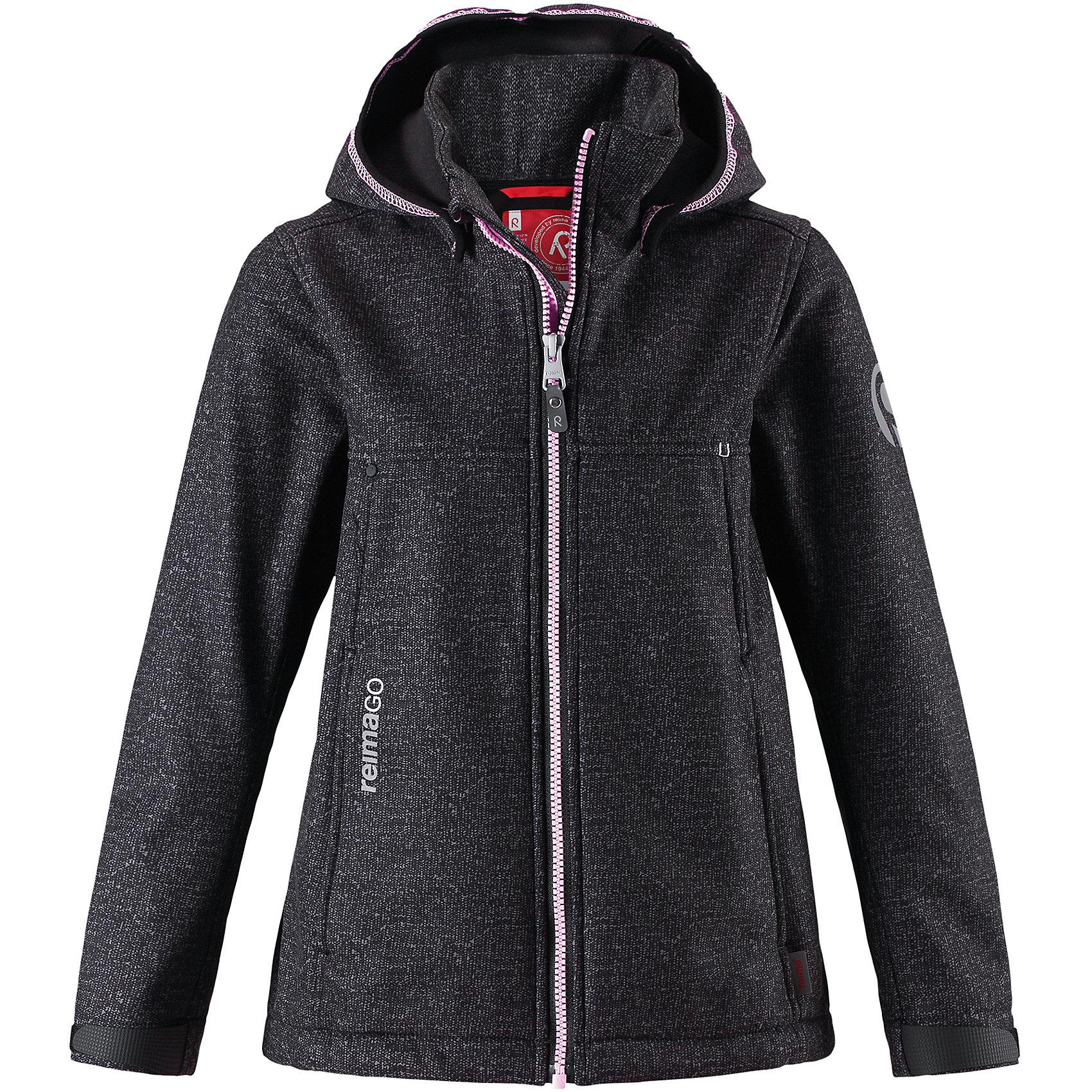 Куртка Cornise Reima для девочкиФлис и термобелье<br>Демисезонная куртка для детей и подростков изготовлена из функционального материала softshell –водоотталкивающего, ветронепроницаемого, и в то же время дышащего. Многослойный материал имеет мягкую флисовую изнанку. Регулируемая талия позволяет отрегулировать эту приталенную модель по фигуре, а регулируемые манжеты снабжены застежками на липучке. В этой куртке предусмотрено множество практичных деталей: безопасный съемный капюшон м эластичной резинкой по краю, карманы на молнии и светоотражающие элементы – отличный выбор, куда бы вы не пошли. Сенсор ReimaGO будет надежно закреплен на месте благодаря специальным кнопкам.<br>Состав:<br>95% Полиэстер 5% Эластан<br><br>Ширина мм: 356<br>Глубина мм: 10<br>Высота мм: 245<br>Вес г: 519<br>Цвет: серый<br>Возраст от месяцев: 156<br>Возраст до месяцев: 168<br>Пол: Женский<br>Возраст: Детский<br>Размер: 164,104,110,116,122,128,134,140,146,152,158<br>SKU: 6902896