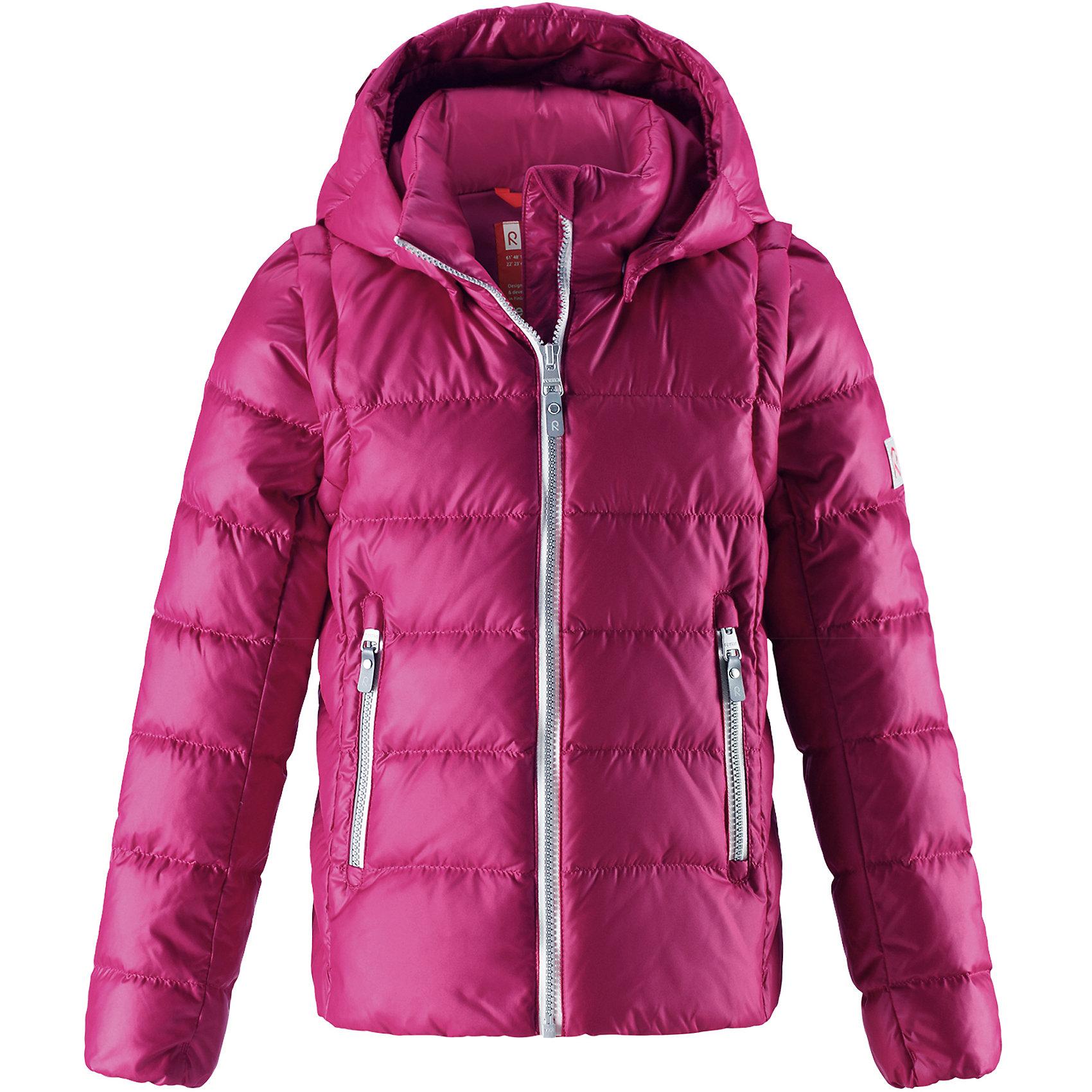 Куртка Reima Minna для девочкиОдежда<br>Характеристики товара:<br><br>• цвет: розовый;<br>• состав: 100% полиамид;<br>• подкладка: 100% полиэстер;<br>• утеплитель: 60% пух, 40% перо;<br>• сезон: зима;<br>• температурный режим: от 0 до -20С;<br>• воздухопроницаемость: 3000 мм;<br>• пуховая куртка для подростков;<br>• водоотталкивающий, ветронепроницаемый и дышащий материал;<br>• гладкая подкладка из полиэстера;<br>• безопасный, съемный капюшон;<br>• отстегивающиеся рукава на молнии;<br>• два боковых кармана;<br>• светоотражающие детали;<br>• страна бренда: Финляндия;<br>• страна изготовитель: Китай.<br><br>Очень легкая, но при этом теплая и практичная слегка удлиненная куртка для подростков в одно мгновение превращается в жилетку. Эта практичная куртка снабжена утеплителем пух/перо (60/40%). Куртку с гладкой подкладкой из полиэстера легко надевать и очень удобно носить. В теплую погоду стоит лишь отстегнуть рукава, и куртка превратится в жилетку. Наденьте ее с удобной кофтой, и у вас получится модный и стильный наряд. <br><br>А когда на улице похолодает, жилетку можно поддевать в качестве промежуточного слоя. Куртка оснащена съемным капюшоном, что обеспечивает дополнительную безопасность во время активных прогулок – капюшон легко отстегивается, если случайно за что-нибудь зацепится. Есть два кармана на молнии для мобильного телефона и других ценных мелочей. Эту модель для девочек довершают практичные детали: длинная молния высокого качества и светоотражающие элементы.<br><br>Куртку Minna для девочки Reima от финского бренда Reima (Рейма) можно купить в нашем интернет-магазине.<br><br>Ширина мм: 356<br>Глубина мм: 10<br>Высота мм: 245<br>Вес г: 519<br>Цвет: розовый<br>Возраст от месяцев: 36<br>Возраст до месяцев: 48<br>Пол: Женский<br>Возраст: Детский<br>Размер: 104,164,110,116,122,128,134,140,146,152,158<br>SKU: 6903028