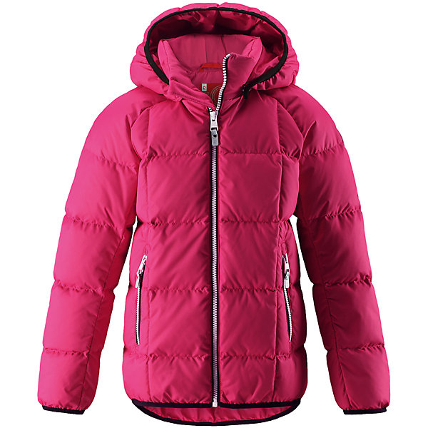 Куртка Reima JordОдежда<br>Характеристики товара:<br><br>• цвет: розовый;<br>• 100% полиэстер, полиуретановое покрытие;<br>• утеплитель: 60% пух, 40% перо;<br>• сезон: зима;<br>• температурный режим: от -10 до -30С;<br>• водонепроницаемость: 5000 мм;<br>• воздухопроницаемость: 2000 мм;<br>• особенности: пуховая, стеганая;<br>• водо- и ветронепроницаемый, дышащий и грязеотталкивающий материал;<br>• безопасный, съемный капюшон;<br>• эластичная резинка на кромке каюшона, манжетах и подоле;<br>• два кармана на молнии;<br>• светоотражающие элементы;<br>• страна бренда: Финляндия;<br>• страна производства: Китай.<br><br>Куртка-пуховик для детей и подростков в спортивно-городском стиле. Поверхность с ромбовидным узором добби, утеплитель пух/перо (60/40%). Куртка изготовлена из дышащего, водо и ветронепроницаемого материала, в ней вашему ребенку будет тепло и уютно в морозный день. <br><br>Эта куртка с подкладкой из гладкого полиэстера легко надевается. Снабжена безопасным съемным капюшоном, карманами на молнии и эластичной сборкой по краю капюшона, на манжетах и подоле. Куртка изготовлена из грязеотталкивающего материала, но при этом ее можно сушить в сушильной машине.<br><br>Куртку Jord Reima можно купить в нашем интернет-магазине.<br>Ширина мм: 356; Глубина мм: 10; Высота мм: 245; Вес г: 519; Цвет: розовый; Возраст от месяцев: 48; Возраст до месяцев: 60; Пол: Женский; Возраст: Детский; Размер: 110,164,104,116,122,128,134,140,146,152,158; SKU: 6903124;