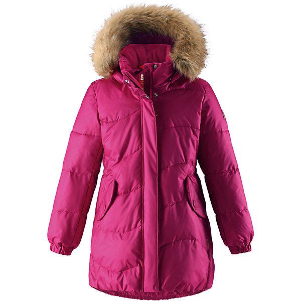 Куртка Reima Sula для девочкиОдежда<br>Характеристики товара:<br><br>• цвет: фуксия;<br>• состав: 56% полиамид, 44; полиэстер;<br>• подкладка: 100% полиэстер;<br>• утеплитель: искусственный пух;<br>• сезон: зима;<br>• температурный режим: от 0 до -20С;<br>• водонепроницаемость: 3000 мм;<br>• воздухопроницаемость: 7000 мм;<br>• износостойкость: 13000 циклов (тест Мартиндейла);<br>• водо- и ветронепроницаемый, дышащий и грязеотталкивающий материал;<br>• основные швы проклеены и не пропускают влагу;<br>• застежка: молния с дополнительной планкой;<br>• гладкая подкладка из полиэстера;<br>• безопасный съемный капюшон;<br>• съемный искусственный мех на капюшоне;<br>• эластичный пояс сзади;<br>• эластичные подол и манжеты;<br>• два кармана с кнопками;<br>• петля для дополнительных светоотражающих деталей;<br>• светоотражающие детали;<br>• страна бренда: Финляндия;<br>• страна изготовитель: Китай.<br><br>Куртка для девочек на искусственном пуху немного удлиненного покроя снабжена стильной съемной оторочкой из искусственного меха на капюшоне. Она изготовлена из водо и ветронепроницаемого, дышащего материала с водо и грязеотталкивающей поверхностью, поэтому она теплая и простая в уходе. Куртку с гладкой подкладкой из полиэстера легко надевать и очень удобно носить с теплым промежуточным слоем. <br><br>Эта элегантная модель снабжена съемным эластичным пояском сзади и декоративной светоотражающей отделкой, придающей завершающий штрих теплому зимнему наряду. Съемный капюшон не только защищает от пронизывающего ветра, но еще и обеспечивает дополнительную безопасность во время прогулок. Кнопки легко отстегиваются, если капюшон случайно за что-нибудь зацепится. <br><br>Куртку Sula для девочки Reima от финского бренда Reima (Рейма) можно купить в нашем интернет-магазине.<br><br>Ширина мм: 356<br>Глубина мм: 10<br>Высота мм: 245<br>Вес г: 519<br>Цвет: фуксия<br>Возраст от месяцев: 36<br>Возраст до месяцев: 48<br>Пол: Женский<br>Возраст: Детский<br>Размер: 104,110,116,122,128,134,140,