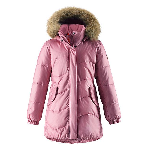 Куртка Reima Sula для девочкиОдежда<br>Характеристики товара:<br><br>• цвет: светло-розовый;<br>• состав: 56% полиамид, 44; полиэстер;<br>• подкладка: 100% полиэстер;<br>• утеплитель: искусственный пух;<br>• сезон: зима;<br>• температурный режим: от 0 до -20С;<br>• водонепроницаемость: 3000 мм;<br>• воздухопроницаемость: 7000 мм;<br>• износостойкость: 13000 циклов (тест Мартиндейла);<br>• водо- и ветронепроницаемый, дышащий и грязеотталкивающий материал;<br>• основные швы проклеены и не пропускают влагу;<br>• застежка: молния с дополнительной планкой;<br>• гладкая подкладка из полиэстера;<br>• безопасный съемный капюшон;<br>• съемный искусственный мех на капюшоне;<br>• эластичный пояс сзади;<br>• эластичные подол и манжеты;<br>• два кармана с кнопками;<br>• петля для дополнительных светоотражающих деталей;<br>• светоотражающие детали;<br>• страна бренда: Финляндия;<br>• страна изготовитель: Китай.<br><br>Куртка для девочек на искусственном пуху немного удлиненного покроя снабжена стильной съемной оторочкой из искусственного меха на капюшоне. Она изготовлена из водо и ветронепроницаемого, дышащего материала с водо и грязеотталкивающей поверхностью, поэтому она теплая и простая в уходе. Куртку с гладкой подкладкой из полиэстера легко надевать и очень удобно носить с теплым промежуточным слоем. <br><br>Эта элегантная модель снабжена съемным эластичным пояском сзади и декоративной светоотражающей отделкой, придающей завершающий штрих теплому зимнему наряду. Съемный капюшон не только защищает от пронизывающего ветра, но еще и обеспечивает дополнительную безопасность во время прогулок. Кнопки легко отстегиваются, если капюшон случайно за что-нибудь зацепится. <br><br>Куртку Sula для девочки Reima от финского бренда Reima (Рейма) можно купить в нашем интернет-магазине.<br><br>Ширина мм: 356<br>Глубина мм: 10<br>Высота мм: 245<br>Вес г: 519<br>Цвет: розовый<br>Возраст от месяцев: 60<br>Возраст до месяцев: 72<br>Пол: Женский<br>Возраст: Детский<br>Размер: 116,110,104,164,158