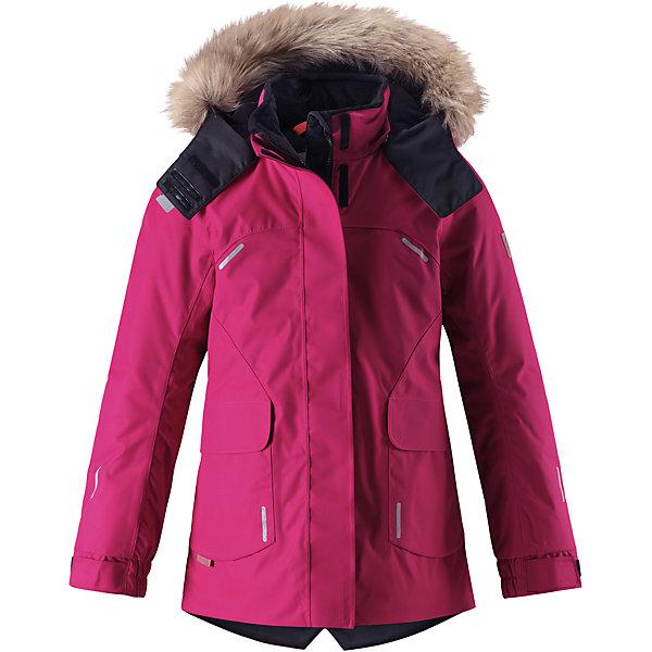 Куртка Reimatec® Reima Sisarus для девочкиОдежда<br>Характеристики товара:<br><br>• цвет: фуксия;<br>• состав: 100% полиэстер;<br>• подкладка: 100% полиэстер;<br>• утеплитель: 140 г/м2;<br>• сезон: зима;<br>• температурный режим: от 0 до -20С;<br>• водонепроницаемость: 15000 мм;<br>• воздухопроницаемость: 7000 мм;<br>• износостойкость: 40000 циклов (тест Мартиндейла);<br>• водо- и ветронепроницаемый, дышащий и грязеотталкивающий материал;<br>• все швы проклеены и водонепроницаемы;<br>• застежка: молния с дополнительной планкой;<br>• гладкая подкладка из полиэстера;<br>• безопасный съемный капюшон;<br>• съемный искусственный мех на капюшоне;<br>• регулируемые манжеты;<br>• эластичный пояс сзади;<br>• удлиненный подол сзади;<br>• два прорезных кармана;<br>• внутренний нагрудный карман;<br>• петля для дополнительных светоотражающих деталей;<br>• светоотражающие детали;<br>• страна бренда: Финляндия;<br>• страна изготовитель: Китай.<br><br>Элегантная детская зимняя куртка в классическом стиле с честью выдержит испытание временем и высокими нагрузками! Эта куртка из водо и ветронепроницаемого материала отлично подойдет для любых зимних забав. Все швы в ней проклеены и водонепроницаемы, что гарантирует максимальный комфорт во время зимних прогулок. <br><br>Кроме того, она сшита из дышащего материала, так что ребенок не вспотеет во время катания на санках или коньках. Эта приталенная и удлиненная модель для девочек снабжена несъемным пояском на талии и регулируемыми манжетами. Съемный и регулируемый капюшон оторочен стильной отделкой из искусственного меха, которую при желании тоже можно снять. Защитный капюшон безопасен во время игр на свежем воздухе, поскольку легко отстегнется, если вдруг за что-нибудь зацепится. <br><br>В больших карманах с клапанами легко поместятся все самое важное. Обратите внимание на удобную петельку, спрятанную в кармане с клапаном – к ней можно прикрепить любимый светоотражатель ребенка для обеспечения лучшей видимости. Эта куртка очень проста в