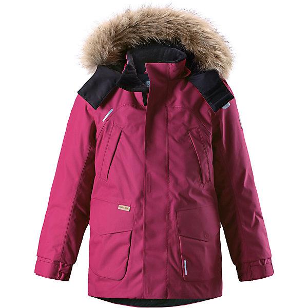 Куртка Reimatec®+ Reima SerkkuОдежда<br>Характеристики товара:<br><br>• цвет: розовый;<br>• состав: 100% полиэстер;<br>• подкладка: 100% полиэстер;<br>• утеплитель: 60% пух, 40% перо;<br>• сезон: зима;<br>• температурный режим: от 0 до -20С;<br>• водонепроницаемость: 15000 мм;<br>• воздухопроницаемость: 7000 мм;<br>• износостойкость: 40000 циклов (тест Мартиндейла);<br>• водо- и ветронепроницаемый, дышащий и грязеотталкивающий материал;<br>• все швы проклеены и водонепроницаемы;<br>• застежка: молния с дополнительной планкой;<br>• гладкая подкладка из полиэстера;<br>• безопасный съемный капюшон;<br>• съемный искусственный мех на капюшоне;<br>• регулируемые манжеты и подол;<br>• внутренняя регулировка талии;<br>• удлиненный подол сзади;<br>• два прорезных кармана;<br>• нагрудные карманы;<br>• внутренний нагрудный карман;<br>• петля для дополнительных светоотражающих деталей;<br>• светоотражающие детали;<br>• страна бренда: Финляндия;<br>• страна изготовитель: Китай.<br><br>Теплая детская куртка-пуховик сшита из ветронепроницаемого и дышащего материала, который, к тому же, абсолютно водонепроницаемый! Все швы в этой стильной куртке проклеены и водонепроницаемы, что гарантирует максимальный комфорт во время зимних прогулок, при любой погоде. Талия и подол этой удлиненной модели легко регулируются, что позволяет подогнать куртку точно по фигуре. <br><br>Съемный капюшон защищает от пронизывающего ветра и безопасен во время игр на свежем воздухе. Кнопки легко отстегиваются, если капюшон случайно за что-нибудь зацепится. Куртка подшита гладкой подкладкой. Модный образ дополняет капюшон с элегантной оторочкой из искусственного меха, которую при желании также можно снять. В нескольких карманах удобно хранить разные важные предметы во время прогулок.<br><br>Куртку Serkku Reimatec®+ Reima от финского бренда Reima (Рейма) можно купить в нашем интернет-магазине.<br>Ширина мм: 356; Глубина мм: 10; Высота мм: 245; Вес г: 519; Цвет: розовый; Возраст от месяцев: 36; Возраст до месяц