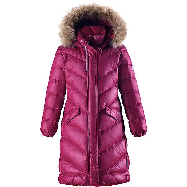 Куртка Reimatec® Reima Satu для девочкиОдежда<br>Характеристики товара:<br><br>• цвет: розовый;<br>• состав: 100% полиэстер;<br>• подкладка: 100% полиэстер;<br>• утеплитель: 60% пух, 40% перо;<br>• сезон: зима;<br>• температурный режим: от 0 до -30С;<br>• водонепроницаемость: 15000 мм;<br>• воздухопроницаемость: 7000 мм;<br>• износостойкость: 40000 циклов (тест Мартиндейла);<br>• водо- и ветронепроницаемый, дышащий и грязеотталкивающий материал;<br>• все швы проклеены и водонепроницаемы;<br>• застежка: молния с защитой подбородка;<br>• гладкая подкладка из полиэстера;<br>• безопасный съемный капюшон;<br>• съемный искусственный мех на капюшоне;<br>• эластичные манжеты;<br>• эластичная талия и подол;<br>• удлиненная модель;<br>• два кармана с кнопками;<br>• светоотражающие детали;<br>• страна бренда: Финляндия;<br>• страна изготовитель: Китай.<br><br>Превосходная, очень теплая зимняя куртка будет модно смотреться на прогулке по городу! У этой пуховой куртки для подростков очень красивый приталенный и удлиненный силуэт – специально для девочек. Куртка изготовлена из водоотталкивающего и дышащего, ветронепроницаемого материала, в ней вашей зимней принцессе будет тепло и уютно в морозный день. <br><br>Благодаря гладкому полиэстеру на подкладке, куртка легко надевается, а удобная двусторонняя молния превратит одевание в веселую игру. Эластичный поясок на спинке придает этой модной куртке красивый силуэт. Куртка снабжена безопасным съемным капюшоном со стильной съемной отделкой из искусственного меха. <br><br>Обратите внимание на удобную петельку, спрятанную в кармане с клапаном – к ней можно прикрепить любимый светоотражатель ребенка для обеспечения безопасности и лучшей видимости.<br><br>Куртку Satu для девочки Reimatec® Reima от финского бренда Reima (Рейма) можно купить в нашем интернет-магазине.<br>Ширина мм: 356; Глубина мм: 10; Высота мм: 245; Вес г: 519; Цвет: розовый; Возраст от месяцев: 48; Возраст до месяцев: 60; Пол: Женский; Возраст: Детский; Размер: 110,116,1