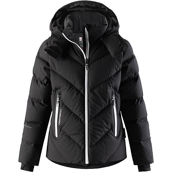 Куртка Reimatec®+ Reima Waken для девочкиЗимние куртки<br>Характеристики товара:<br><br>• цвет: черный;<br>• состав: 100% полиэстер;<br>• подкладка: 100% полиэстер;<br>• утеплитель: 60% пух, 40% перо;<br>• сезон: зима;<br>• температурный режим: от 0 до -30С;<br>• водонепроницаемость: 10000 мм;<br>• воздухопроницаемость: 5000 мм;<br>• износостойкость: 10000 циклов (тест Мартиндейла);<br>• водо- и ветронепроницаемый, дышащий и грязеотталкивающий материал;<br>• все швы проклеены и водонепроницаемы;<br>• застежка: молния с защитой подбородка;<br>• гладкая подкладка из полиэстера;<br>• безопасный съемный капюшон;<br>• снегозащитные манжеты;<br>• регулируемый подол;<br>• снегозащитный манжет на талии;<br>• два кармана на молнии;<br>• карман для очков, внутренний нагрудный карман;<br>• петля для проводов наушников;<br>• карман с креплением для сенсора ReimaGO®;<br>• светоотражающие детали;<br>• страна бренда: Финляндия;<br>• страна изготовитель: Китай.<br><br>Куртка-пуховик для детей и подростков снабжена множеством функциональных деталей! Она сшита из специального материала Reimatec® стрейч, водо и ветронепроницаемого, грязеотталкивающего, дышащего и эластичного. Гладкая подкладка и прочная молния облегчают надевание. Снежная юбка на талии и защитная мембрана на манжетах станут непреодолимым барьером на пути холода. <br><br>Съемный капюшон не только защищает от пронизывающего ветра, но еще и безопасен. Пуховик разработан специально для лыжников и любителей других зимних видов спорта, он оснащен специальным карманом для защитных очков, внутренним нагрудным карманом, петельками для шнура наушников и карманом для сенсора ReimaGO. Подол легко регулируется, что позволяет подогнать эту куртку для девочек идеально по фигуре.<br><br>Куртку Waken для девочки Reimatec®+ Reima от финского бренда Reima (Рейма) можно купить в нашем интернет-магазине.<br><br>Ширина мм: 356<br>Глубина мм: 10<br>Высота мм: 245<br>Вес г: 519<br>Цвет: черный<br>Возраст от месяцев: 36<br>Возраст до месяцев: