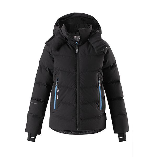 Куртка Reimatec®+ Reima Wakeup для мальчикаОдежда<br>Характеристики товара:<br><br>• цвет: черный;<br>• состав: 100% полиэстер;<br>• подкладка: 100% полиэстер;<br>• утеплитель: 60% пух, 40% перо;<br>• сезон: зима;<br>• температурный режим: от 0 до -30С;<br>• водонепроницаемость: 10000 мм;<br>• воздухопроницаемость: 5000 мм;<br>• износостойкость: 10000 циклов (тест Мартиндейла);<br>• водо- и ветронепроницаемый, дышащий и грязеотталкивающий материал;<br>• все швы проклеены и водонепроницаемы;<br>• застежка: молния с защитой подбородка;<br>• гладкая подкладка из полиэстера;<br>• безопасный съемный капюшон;<br>• снегозащитные манжеты;<br>• регулируемый подол;<br>• снегозащитный манжет на талии;<br>• два кармана на молнии;<br>• карман для очков, внутренний нагрудный карман;<br>• петля для проводов наушников;<br>• карман с креплением для сенсора ReimaGO®;<br>• светоотражающие детали;<br>• страна бренда: Финляндия;<br>• страна изготовитель: Китай.<br><br>Куртка-пуховик для детей и подростков снабжена множеством функциональных деталей! Она сшита из специального материала Reimatec® стрейч, водо и ветронепроницаемого, грязеотталкивающего, дышащего и эластичного. Гладкая подкладка и прочная молния облегчают надевание. Снежная юбка на талии и защитная мембрана на манжетах станут непреодолимым барьером на пути холода. <br><br>Съемный капюшон не только защищает от пронизывающего ветра, но еще и безопасен. Пуховик разработан специально для лыжников и любителей других зимних видов спорта, он оснащен специальным карманом для защитных очков, внутренним нагрудным карманом, петельками для шнура наушников и карманом для сенсора ReimaGO. Подол легко регулируется, что позволяет подогнать эту куртку прямого кроя идеально по фигуре.<br><br>Куртку Wakeup для мальчика Reimatec®+ Reima от финского бренда Reima (Рейма) можно купить в нашем интернет-магазине.<br><br>Ширина мм: 356<br>Глубина мм: 10<br>Высота мм: 245<br>Вес г: 519<br>Цвет: черный<br>Возраст от месяцев: 36<br>Возраст до месяцев: 4
