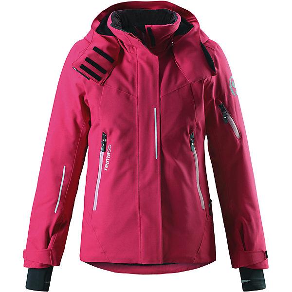 Куртка Reimatec®+ Reima Moirana для девочкиОдежда<br>Характеристики товара:<br><br>• цвет: розовый;<br>• состав: 100% полиэстер;<br>• подкладка: 100% полиэстер;<br>• утеплитель: 140 г/м2;<br>• сезон: зима;<br>• температурный режим: от 0 до -20С;<br>• водонепроницаемость: 10000 мм;<br>• воздухопроницаемость: 8000 мм;<br>• износостойкость: 15000 циклов (тест Мартиндейла);<br>• водо- и ветронепроницаемый, дышащий и грязеотталкивающий материал;<br>• все швы проклеены и водонепроницаемы;<br>• застежка: молния с защитой подбородка;<br>• гладкая подкладка из полиэстера;<br>• безопасный съемный и регулируемый капюшон;<br>• место соединения куртки с брюками скрыто снегозащитной манжетой;<br>• регулируемые манжеты и внутренние манжеты из лайкры;<br>• удлиненные манжеты;<br>• два кармана на молнии;<br>• регулируемый подол, снегозащитный манжет на талии;<br>• карманы на молнии, карман для skipass на рукаве;<br>• карман для очков, внутренний нагрудный карман и петли для проводов наушников;<br>• карман с креплением для сенсора ReimaGO®;<br>• светоотражающие детали;<br>• страна бренда: Финляндия;<br>• страна изготовитель: Китай.<br><br>Куртка сшита из специального водо и ветронепроницаемого, дышащего материала, который к тому же имеет водо и грязеотталкивающую поверхность. Все швы проклеены, водонепроницаемы. Удобная гладкая подкладка из полиэстера и молния во всю длину облегчают надевание. С помощью удобных кнопок на снежной юбке можно пристегнуть куртку к брюкам. А за ненадобностью, снежную юбку можно пристегнуть к карманам. <br><br>Безопасный съемный и регулируемый капюшон с ветроотражателем легко отстегнется, если вдруг за что-нибудь зацепится. Благодаря удобным петелькам, провод от наушников не запутается.<br><br>Регулируемые манжеты помогут подобрать нужную ширину рукавов, а внутренние манжеты из лайкры не пропустят холод внутрь. Эта функциональная куртка – просто чудо: она снабжена карманами на молнии, карманом для лыжной карты, карманом для лыжных очков, внутренним нагрудн