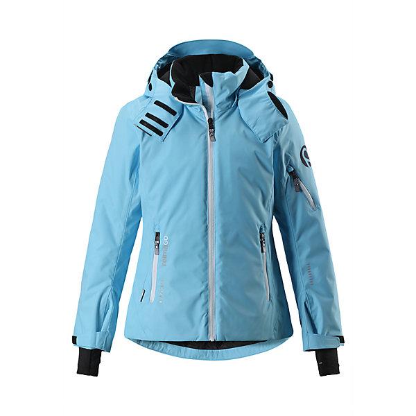 Куртка Reimatec® Reima Frost для девочкиВерхняя одежда<br>Характеристики товара:<br><br>• цвет: голубой;<br>• состав: 100% полиэстер;<br>• подкладка: 100% полиэстер;<br>• утеплитель: 140 г/м2;<br>• сезон: зима;<br>• температурный режим: от 0 до -20С;<br>• водонепроницаемость: 15000 мм;<br>• воздухопроницаемость: 7000 мм;<br>• износостойкость: 40000 циклов (тест Мартиндейла);<br>• водо- и ветронепроницаемый, дышащий и грязеотталкивающий материал;<br>• все швы проклеены и водонепроницаемы;<br>• застежка: молния с защитой подбородка;<br>• гладкая подкладка из полиэстера;<br>• безопасный съемный и регулируемый капюшон;<br>• место соединения куртки с брюками скрыто снегозащитной манжетой;<br>• регулируемые манжеты и внутренние манжеты из лайкры;<br>• удлиненные манжеты;<br>• регулируемый подол, снегозащитный манжет на талии;<br>• карманы на молнии, карман для skipass на рукаве;<br>• карман для очков, внутренний нагрудный карман и петли для проводов наушников;<br>• карман с креплением для сенсора ReimaGO®;<br>• светоотражающие детали;<br>• страна бренда: Финляндия;<br>• страна изготовитель: Китай.<br><br>Полностью водо и ветронепроницаемая детская зимняя куртка из специального материала хорошо пропускает воздух и обладает водо и грязеотталкивающими свойствами. Все швы проклеены, водонепроницаемы. Благодаря удобным петелькам провод от наушников не запутается. Регулируемые манжеты помогут подобрать нужную ширину рукавов, а внутренние манжеты из лайкры обеспечат дополнительный комфорт. <br><br>Снежная юбка на талии защищает от попадания снега внутрь. Съемный регулируемый капюшон защищает от пронизывающего ветра и безопасен во время катания на лыжах. Практичные ветроотражатели по краю капюшона обеспечивают дополнительную защиту от холодного ветра. Куртка специально разработана для маленьких лыжников и любителей кататься на санках. <br><br>Она снабжена множеством продуманных функциональных деталей: карманом для лыжной карты на рукаве, двумя карманами на молнии, внутренним нагр