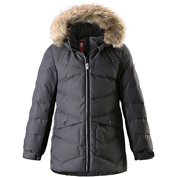 Куртка Reima Leena для девочкиОдежда<br>Характеристики товара:<br><br>• цвет: серый;<br>• состав: 100% полиэстер;<br>• подкладка: 100% полиэстер;<br>• утеплитель: 60% пух, 40% перо;<br>• сезон: зима;<br>• температурный режим: от 0 до -20С;<br>• водонепроницаемость: 3000 мм;<br>• воздухопроницаемость: 7000 мм;<br>• износостойкость: 13000 циклов (тест Мартиндейла);<br>• водо- и ветронепроницаемый, дышащий и грязеотталкивающий материал;<br>• основные швы проклеены и водонепроницаемы;<br>• застежка: молния с защитой подбородка;<br>• гладкая подкладка из полиэстера;<br>• безопасный съемный капюшон;<br>• съемный искусственный мех на капюшоне;<br>• регулируемые манжеты;<br>• петля для дополнительных светоотражающих деталей;<br>• два боковых кармана;<br>• светоотражающие детали;<br>• страна бренда: Финляндия;<br>• страна изготовитель: Китай.<br><br>Пуховая парка для спорта и прогулок по городу. Утеплитель пух/перо (60/40%). Пуховик изготовлен из ветронепроницаемого, дышащего материала с верхним водо и грязеотталкивающим слоем, поэтому вашему ребенку будет тепло и сухо во время веселых зимних игр, к тому же он не вспотеет. Эта традиционная модель пуховика создана специально для девочек, она снабжена съемным капюшоном, который защитит от морозного ветра. <br><br>Эта куртка с подкладкой из гладкого полиэстера легко надевается. Пуховик снабжен безопасным съемным и регулируемым капюшоном со съемной отделкой из искусственного меха. Регулируемые манжеты и подол. Куртка изготовлена из грязеотталкивающего материала, но при этом ее можно сушить в сушильной машине. Два боковых кармана и светоотражающие детали.<br><br>Куртку Leena для девочки Reima от финского бренда Reima (Рейма) можно купить в нашем интернет-магазине.<br>Ширина мм: 356; Глубина мм: 10; Высота мм: 245; Вес г: 519; Цвет: серый; Возраст от месяцев: 36; Возраст до месяцев: 48; Пол: Женский; Возраст: Детский; Размер: 104,164,158,152,146,140,134,128,122,116,110; SKU: 6904191;