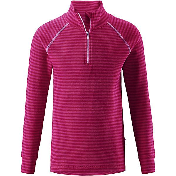 Футболка с длинным рукавом Reima Tavast для девочкиФлис и термобелье<br>Характеристики товара:<br><br>• цвет: розовый;<br>• состав: 80% шерсть, 20% полиамид;<br>• сезон: демисезон;<br>• специальный материал обеспечивает комфорт;<br>• шерсть идеально поддерживает температуру;<br>• мягкие плоские швы для дополнительного комфорта: не раздражают кожу;<br>• удлиненный подол сзади для дополнительной защиты;<br>• молния спереди;<br>• страна бренда: Финляндия;<br>• страна изготовитель: Китай;<br><br>Футболка для детей и подростков сшита из эластичного и дышащего материала. Мягкая хлопковая поверхность с влагоотводящей изнаночной стороной. Эта футболка очень приятная на ощупь и удобная благодаря мягким плоским швам, которые не натирают кожу. Удлиненная спинка для дополнительной защиты поясницы. Застежка на молнии спереди облегчает надевание. Декоративный вязаный узор и контрастная цветная строчка.<br><br>Футболку с длинным рукавом Tavast Reima (Рейма) можно купить в нашем интернет-магазине.<br><br>Ширина мм: 230<br>Глубина мм: 40<br>Высота мм: 220<br>Вес г: 250<br>Цвет: розовый<br>Возраст от месяцев: 15<br>Возраст до месяцев: 18<br>Пол: Женский<br>Возраст: Детский<br>Размер: 80,160,150,140,130,120,110,100,90<br>SKU: 6904430
