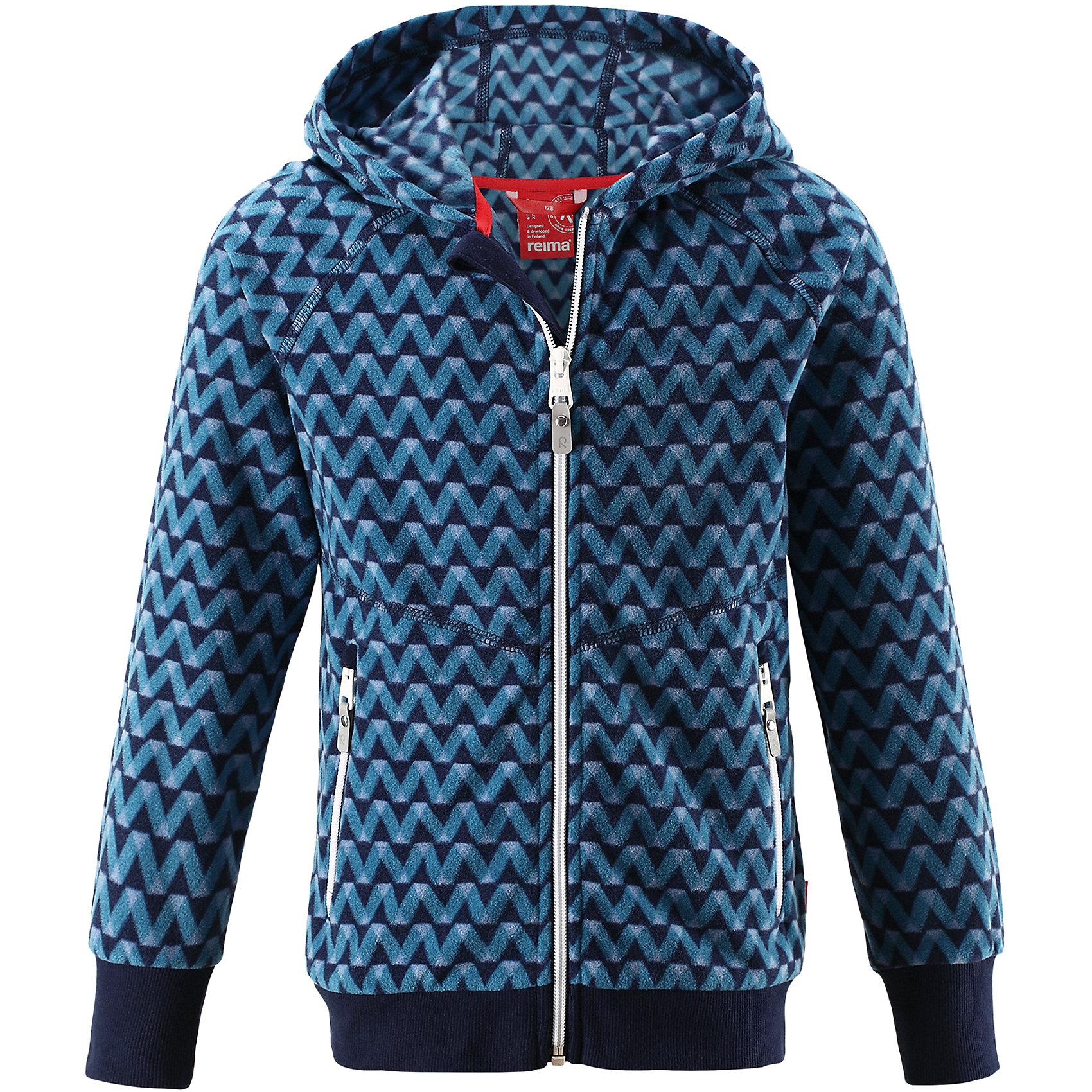 Свитер Ulv Reima для мальчикаТолстовки<br>Детская флисовая куртка на прохладный день. Можно использовать как верхнюю одежду в комплекте с жилеткой в теплую сухую погоду весной и осенью или поддевать в качестве промежуточного слоя в холода. Высококачественный полярный флис – это теплый, легкий и быстросохнущий материал, отводящий влагу с кожи. Идеальный вариант для активных прогулок – обратите внимание на оригинальный сплошной рисунок. <br>Состав:<br>100% Полиэстер<br><br>Ширина мм: 190<br>Глубина мм: 74<br>Высота мм: 229<br>Вес г: 236<br>Цвет: синий<br>Возраст от месяцев: 156<br>Возраст до месяцев: 168<br>Пол: Мужской<br>Возраст: Детский<br>Размер: 110,116,122,128,134,140,146,152,158,164,92,98,104<br>SKU: 6904614