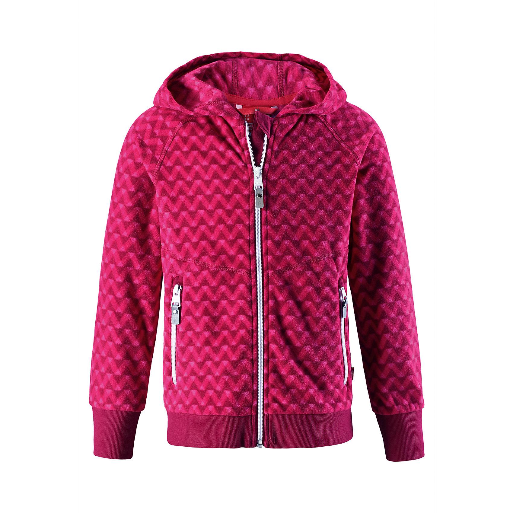 Свитер Myra Reima для девочкиТолстовки<br>Детская флисовая куртка на прохладный день. Можно использовать как верхнюю одежду в комплекте с жилеткой в теплую сухую погоду весной и осенью или поддевать в качестве промежуточного слоя в холода. Высококачественный полярный флис – это теплый, легкий и быстросохнущий материал, отводящий влагу с кожи. Идеальный вариант для активных прогулок – обратите внимание на оригинальный сплошной рисунок. <br>Состав:<br>100% Полиэстер<br><br>Ширина мм: 190<br>Глубина мм: 74<br>Высота мм: 229<br>Вес г: 236<br>Цвет: розовый<br>Возраст от месяцев: 72<br>Возраст до месяцев: 84<br>Пол: Женский<br>Возраст: Детский<br>Размер: 122,116,110,104,98,92,164,158,152,146,140,134,128<br>SKU: 6904628