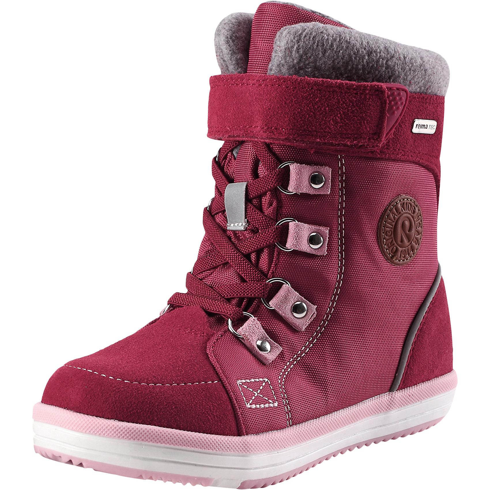Ботинки Freddo Reimatec® ReimaОбувь<br>Характеристики товара:<br><br>• цвет: розовый;<br>• внешний материал: натуральная замша (телячья кожа), текстиль;<br>• внутренний материал: искусственный мех;<br>• стелька: войлок;<br>• подошва: термопластичный каучук;<br>• сезон: зима;<br>• температурный режим: от -5 до -20С;<br>• водонепроницаемая зимняя обувь;<br>• верх из натуральной замши (из телячьей кожи) и текстиля;<br>• подошва из термопластичного каучука обеспечивает хорошее сцепление с поверхностью;<br>• водонепроницаемые, герметичные вставки с флисовой  подкладкой;<br>• съемные стельки из войлока с рисунком Happy Fit, который помогает определить размер;<br>• застежка: молния сбоку, эластичные шнурки и липучка-утяжка по верху ботинок;<br>• светоотражающие детали;<br>• страна бренда: Финляндия;<br>• страна производства: Китай.<br><br>Очень теплые зимние ботинки на молнии Freddo! Эти полностью непромокаемые зимние ботинки станут отличным вариантом как для прогулок по городу, так и для веселых игр в снегу. Верх изготовлен из очень красивой телячьей замши и текстиля, а подошва из термопластичной резины обеспечивает хорошее сцепление на любой поверхности. <br><br>Рисунок Happy Fit на съемных войлочных стельках поможет подобрать нужный размер, а теплый войлок согреет ножки в морозную погоду.  Благодаря эластичным шнуркам, их очень легко надевать, к тому же шнурки вместе с застежкой на липучке обеспечат плотную и удобную посадку на ноге.<br><br>Ботинки Freddo Reimatec® Reima (Рейма) можно купить в нашем интернет-магазине.<br><br>Ширина мм: 262<br>Глубина мм: 176<br>Высота мм: 97<br>Вес г: 427<br>Цвет: розовый<br>Возраст от месяцев: 132<br>Возраст до месяцев: 144<br>Пол: Унисекс<br>Возраст: Детский<br>Размер: 38,28,29,30,31,32,33,34,35,36,37<br>SKU: 6904781