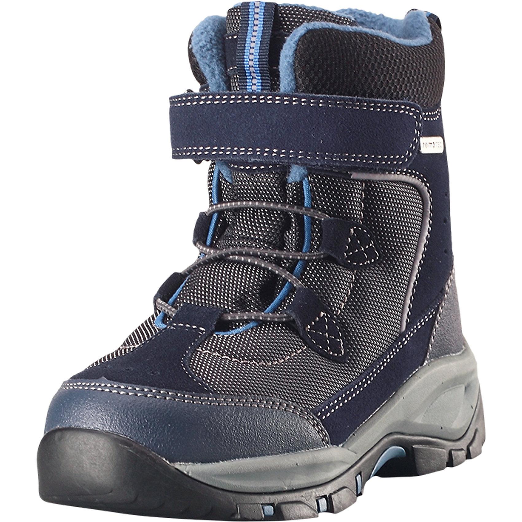Ботинки Denny Reimatec® ReimaОбувь<br>Эти невероятно прочные ботинки Reimatec® очень легко надевать и регулировать благодаря эластичным шнуркам и застежке на липучке. Водонепроницаемая конструкция и подкладка с запаянными швами защищают ноги от холода и влаги. Верх этих суперботинок изготовлен из текстиля и телячьей замши. Ботинки подшиты подкладкой из теплого и мягкого искусственного меха, который надежно защищает от холода. Гибкая и легкая подошва Reima® из ЭВА/резины обеспечивает прочное сцепление с различными поверхностями, а благодаря теплым съемным войлочным стелькам с рисунком Happy Fit легко подобрать правильный размер или измерить растущую ножку ребенка. <br>Состав:<br>Подошва: Резина Верх: Полиэстер/Кожа/Полиуретан<br><br>Ширина мм: 262<br>Глубина мм: 176<br>Высота мм: 97<br>Вес г: 427<br>Цвет: синий<br>Возраст от месяцев: 132<br>Возраст до месяцев: 144<br>Пол: Унисекс<br>Возраст: Детский<br>Размер: 38,28,29,30,31,32,33,34,35,36,37<br>SKU: 6904856