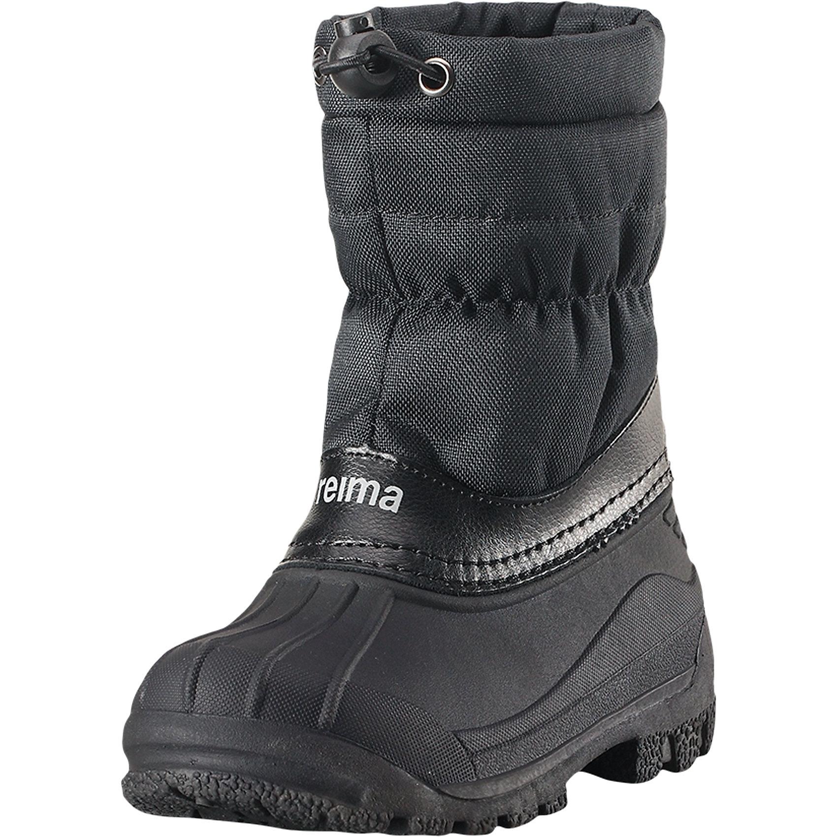 Ботинки Nefar ReimaОбувь<br>Эти детские водоотталкивающие зимние ботинки стали настоящим воплощением классики Reima®. Ботинки защищают ноги от воды не только снизу, но и сверху – галоша сделана из абсолютно непромокаемой и прочной термопластичной резины. Удобное и утепленное голенище тоже не пропускает воду, кроме того, на нем предусмотрена регулируемая защита от снега, которая станет надежным барьером для холода и влаги. Теплая текстильная подкладка согреет ноги во время прогулок в морозную погоду. На заднике имеется светоотражатель, а перед каблуком предусмотрена специальная выемка, позволяющая закреплять штрипки и защищающая их от износа. Эти ботинки легко надевать – полная готовность к активным прогулкам!<br>Состав:<br>Подошва: Термопластичная резина Верх: Полиэстер/Кожа<br><br>Ширина мм: 262<br>Глубина мм: 176<br>Высота мм: 97<br>Вес г: 427<br>Цвет: черный<br>Возраст от месяцев: 96<br>Возраст до месяцев: 108<br>Пол: Унисекс<br>Возраст: Детский<br>Размер: 35,24,25,26,27,28,29,30,32,33,34,31<br>SKU: 6904919