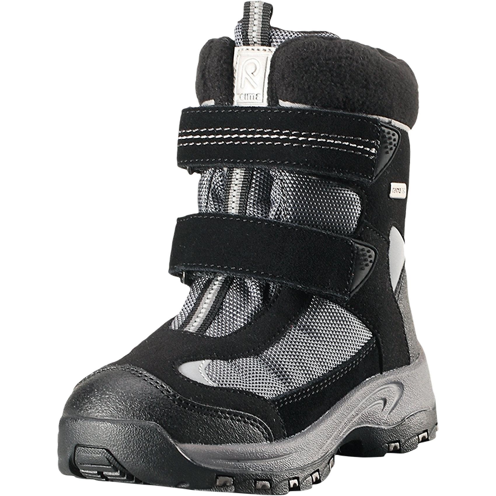 Ботинки Kinos Reimatec® ReimaОбувь<br>Детские непромокаемые зимние ботинки Reimatec® – это легкая и практичная обувь для любых зимних игр и занятий. Эти стильные зимние ботинки изготовлены из сочетания телячьей замши, текстиля и синтетического материала. Они имеют непромокаемую конструкцию с водонепроницаемой мембраной. Подкладка м запаянными швами сделана из полушерсти и флиса. За счет двух ремешков на липучке ботинки легко надевать и удобно регулировать! <br><br>Рисунок Happy Fit на съемных стельках поможет подобрать нужный размер или измерить быстрорастущую ножку ребенка. Резиновая подошва Reima обеспечит хорошее сцепление с разнообразными поверхностями. Светоотражающие детали довершают стильный образ.<br>Состав:<br>Подошва: Термопластичная резина Верх: Полиэстер/Кожа<br><br>Ширина мм: 262<br>Глубина мм: 176<br>Высота мм: 97<br>Вес г: 427<br>Цвет: черный<br>Возраст от месяцев: 96<br>Возраст до месяцев: 108<br>Пол: Унисекс<br>Возраст: Детский<br>Размер: 35,32,24,25,26,27,28,29,30,31,33,34<br>SKU: 6904971