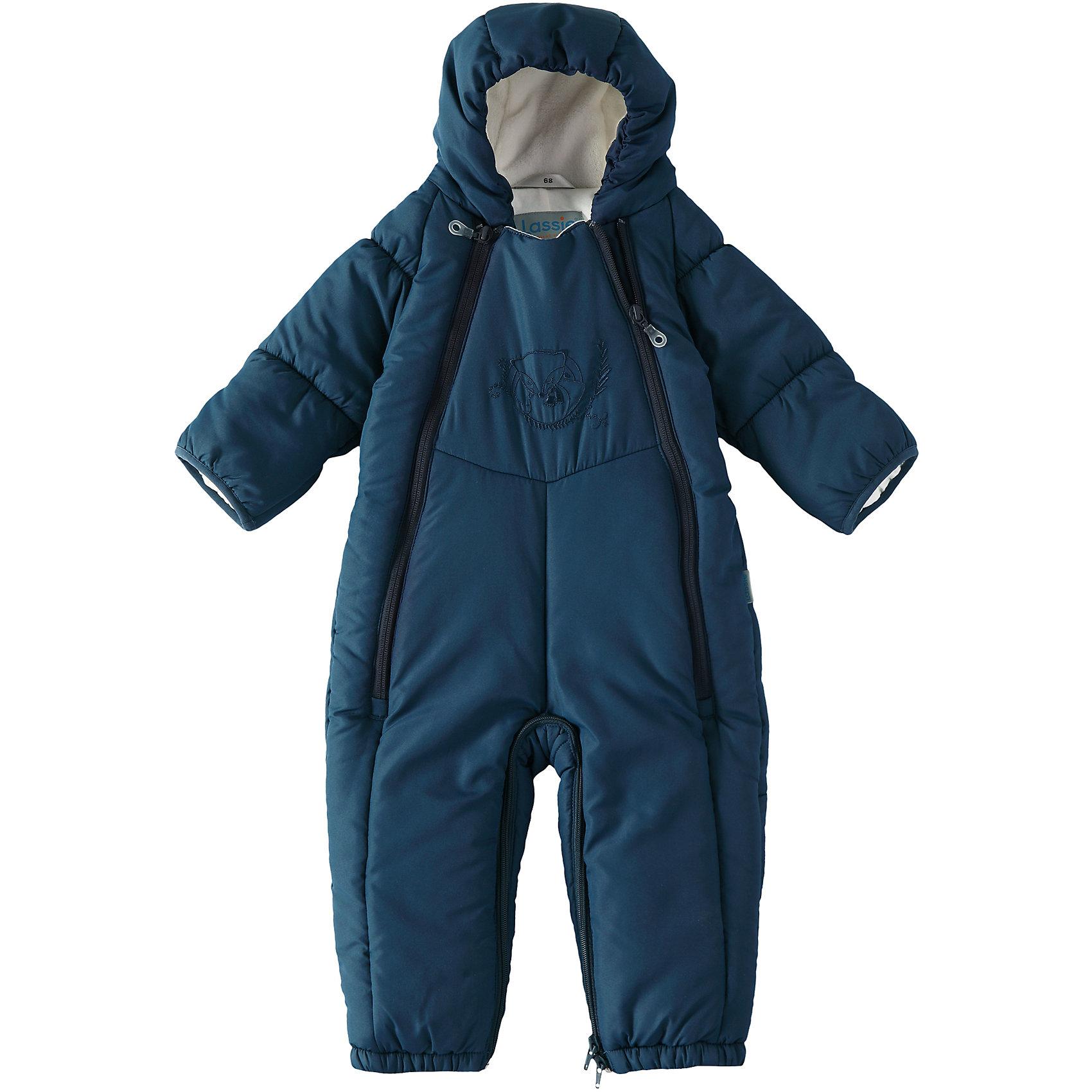 Комбинезон LassieВерхняя одежда<br>Зима пришла! Этот прелестный зимний комбинезон для новорожденных и малышей – идеальное решение для холодных зимних деньков! Он легко превращается в конверт.Комбинезон изготовлен из водоотталкивающего и ветронепроницаемого материала. Красивая мягкая внутренняя подкладка из смеси хлопка и эластана приятна к телу и обеспечивает дополнительное утепление, а длинные молнии спереди облегчают надевание. Полезные детали: съемные штрипки, благодаря которым брючины не будут подскакивать, и безопасный съемный капюшон.<br>Состав:<br>100% Полиэстер<br><br>Ширина мм: 356<br>Глубина мм: 10<br>Высота мм: 245<br>Вес г: 519<br>Цвет: синий<br>Возраст от месяцев: 12<br>Возраст до месяцев: 15<br>Пол: Унисекс<br>Возраст: Детский<br>Размер: 80,62,68,74<br>SKU: 6905353