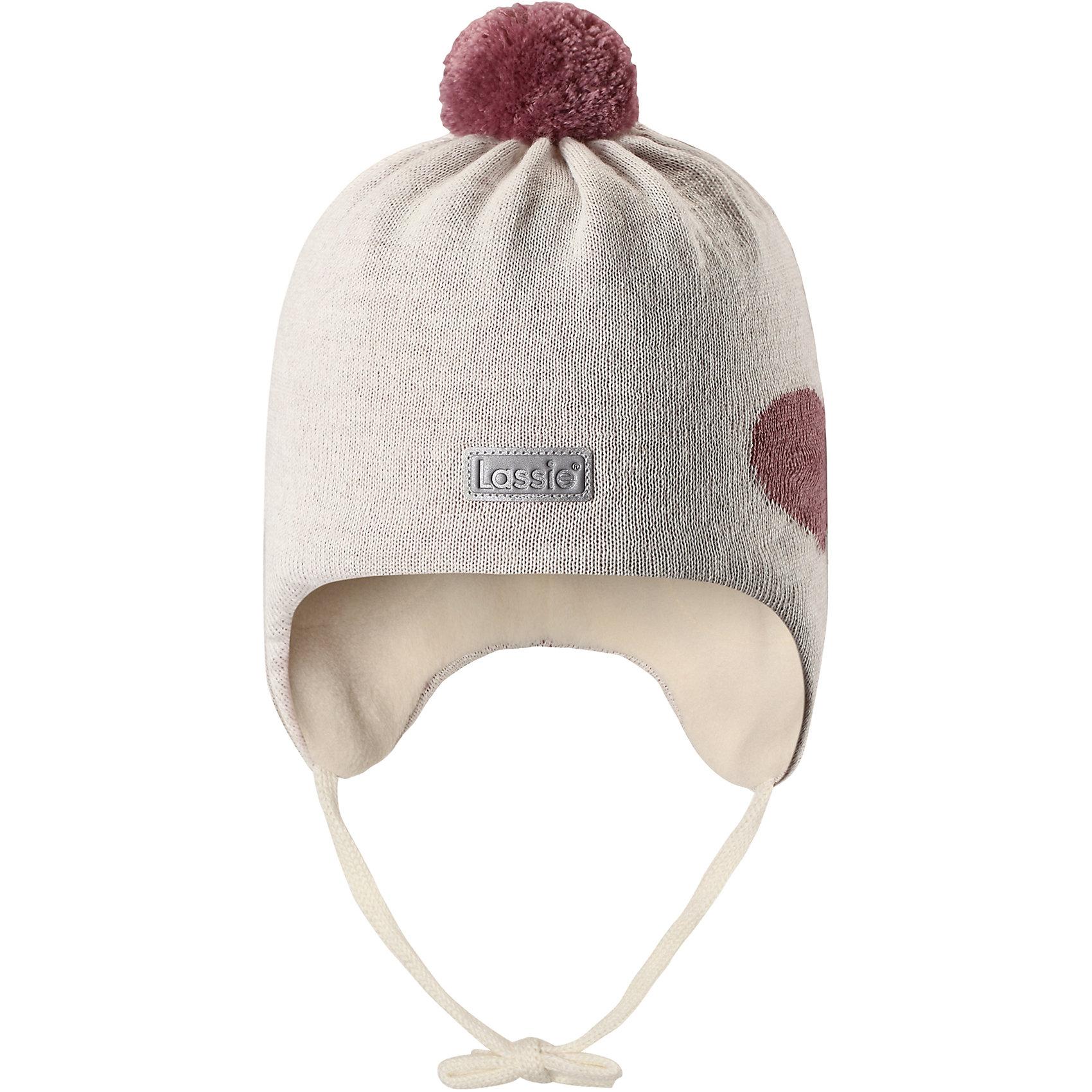 Шапка LassieШапки и шарфы<br>Характеристики товара:<br><br>• цвет: белый;<br>• состав: 50% шерсть, 50% полиакрил; <br>• подкладка: 100% полиэстер, флис;<br>• сезон: зима;<br>• без дополнительного утепления;<br>• температурный режим: от 0 до -20С;<br>• мягкая и теплая ткань из смеси шерсти;<br>• ветронепроницаемые вставки в области ушей;<br>• сплошная подкладка: мягкий теплый флис;<br>• шапка на завязках, с помпоном сверху;<br>• светоотражающие детали;<br>• страна бренда: Финляндия;<br>• страна изготовитель: Китай;<br><br>Эта стильная шапка для малышей с помпонами контрастного цвета и рисунком оживит зимние наряды! Ветронепроницаемые вставки в области ушей защищают нежные детские ушки во время игр на свежем воздухе. Шапка связана из теплой полушерстяной пряжи.<br><br>Шапку Lassie (Ласси) можно купить в нашем интернет-магазине.<br><br>Ширина мм: 89<br>Глубина мм: 117<br>Высота мм: 44<br>Вес г: 155<br>Цвет: серый<br>Возраст от месяцев: 36<br>Возраст до месяцев: 72<br>Пол: Унисекс<br>Возраст: Детский<br>Размер: 50-52,42-44,44-46,46-48<br>SKU: 6905595