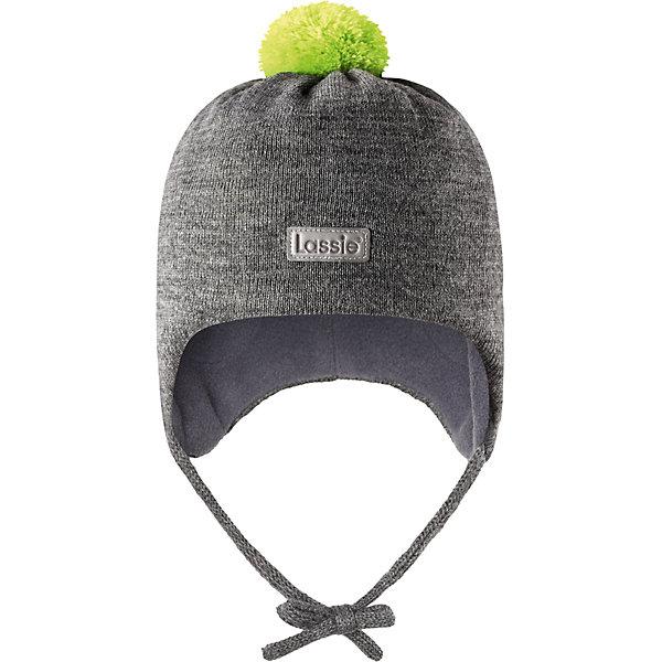 Шапка LassieШапки и шарфы<br>Характеристики товара:<br><br>• цвет: серый;<br>• состав: 50% шерсть, 50% полиакрил; <br>• подкладка: 100% полиэстер, флис;<br>• сезон: зима;<br>• без дополнительного утепления;<br>• температурный режим: от 0 до -20С;<br>• мягкая и теплая ткань из смеси шерсти;<br>• ветронепроницаемые вставки в области ушей;<br>• сплошная подкладка: мягкий теплый флис;<br>• шапка на завязках, с помпоном сверху;<br>• светоотражающие детали;<br>• страна бренда: Финляндия;<br>• страна изготовитель: Китай;<br><br>Эта стильная шапка для малышей с помпонами контрастного цвета и рисунком оживит зимние наряды! Ветронепроницаемые вставки в области ушей защищают нежные детские ушки во время игр на свежем воздухе. Шапка связана из теплой полушерстяной пряжи.<br><br>Шапку Lassie (Ласси) можно купить в нашем интернет-магазине.<br><br>Ширина мм: 89<br>Глубина мм: 117<br>Высота мм: 44<br>Вес г: 155<br>Цвет: серый<br>Возраст от месяцев: 6<br>Возраст до месяцев: 9<br>Пол: Мужской<br>Возраст: Детский<br>Размер: 42-44,50-52,46-48,44-46<br>SKU: 6905610