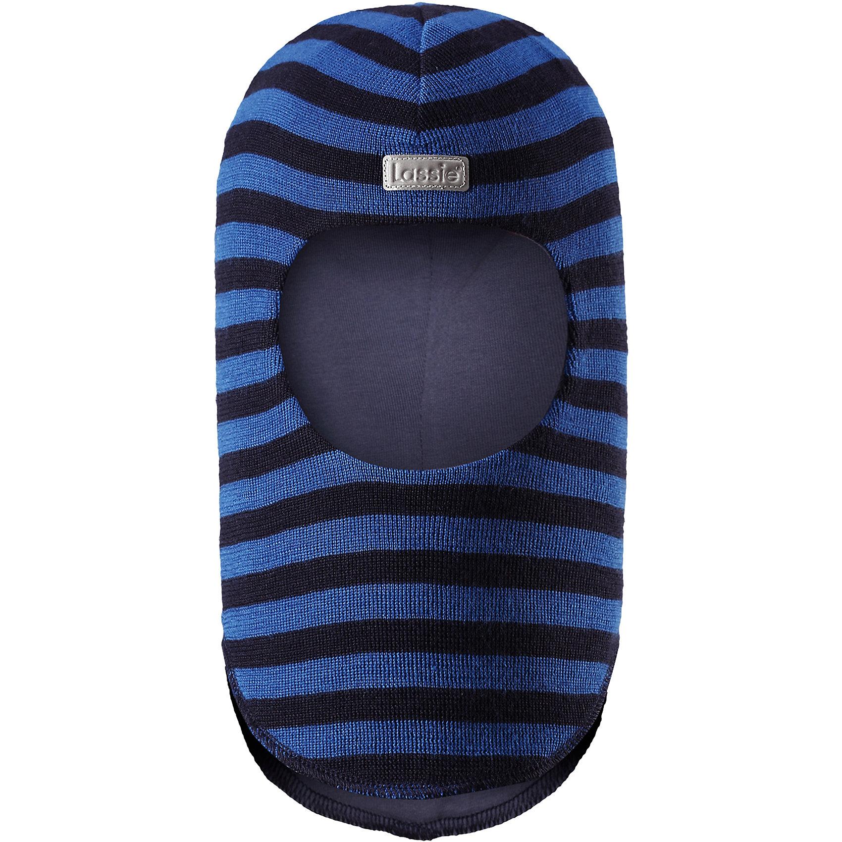 Шапка-шлем LassieШапки и шарфы<br>Характеристики товара:<br><br>• цвет: синий;<br>• состав: 50% шерсть, 50% полиакрил; <br>• подкладка: 97% хлопок, 3% эластан;<br>• сезон: зима;<br>• без дополнительного утепления;<br>• температурный режим: от 0 до -20С;<br>• мягкая и теплая ткань из смеси шерсти;<br>• ветронепроницаемые вставки в области ушей;<br>• сплошная подкладка: приятный на ощупь хлопковый трикотаж с эластаном;<br>• светоотражающие детали;<br>• страна бренда: Финляндия;<br>• страна изготовитель: Китай;<br><br>Эта шапка-шлем для малышей и детей постарше изготовлена из нежной полушерстяной пряжи. Ветронепроницаемые вставки в области ушей защищают ушки во время зимних прогулок. Яркие цвета в сочетании со стильными полосками создают завершенный образ.<br><br>Шапку-шлем Lassie (Ласси) можно купить в нашем интернет-магазине.<br><br>Ширина мм: 89<br>Глубина мм: 117<br>Высота мм: 44<br>Вес г: 155<br>Цвет: синий<br>Возраст от месяцев: 72<br>Возраст до месяцев: 144<br>Пол: Унисекс<br>Возраст: Детский<br>Размер: 54-56,44-46,46-48,50-52<br>SKU: 6905662