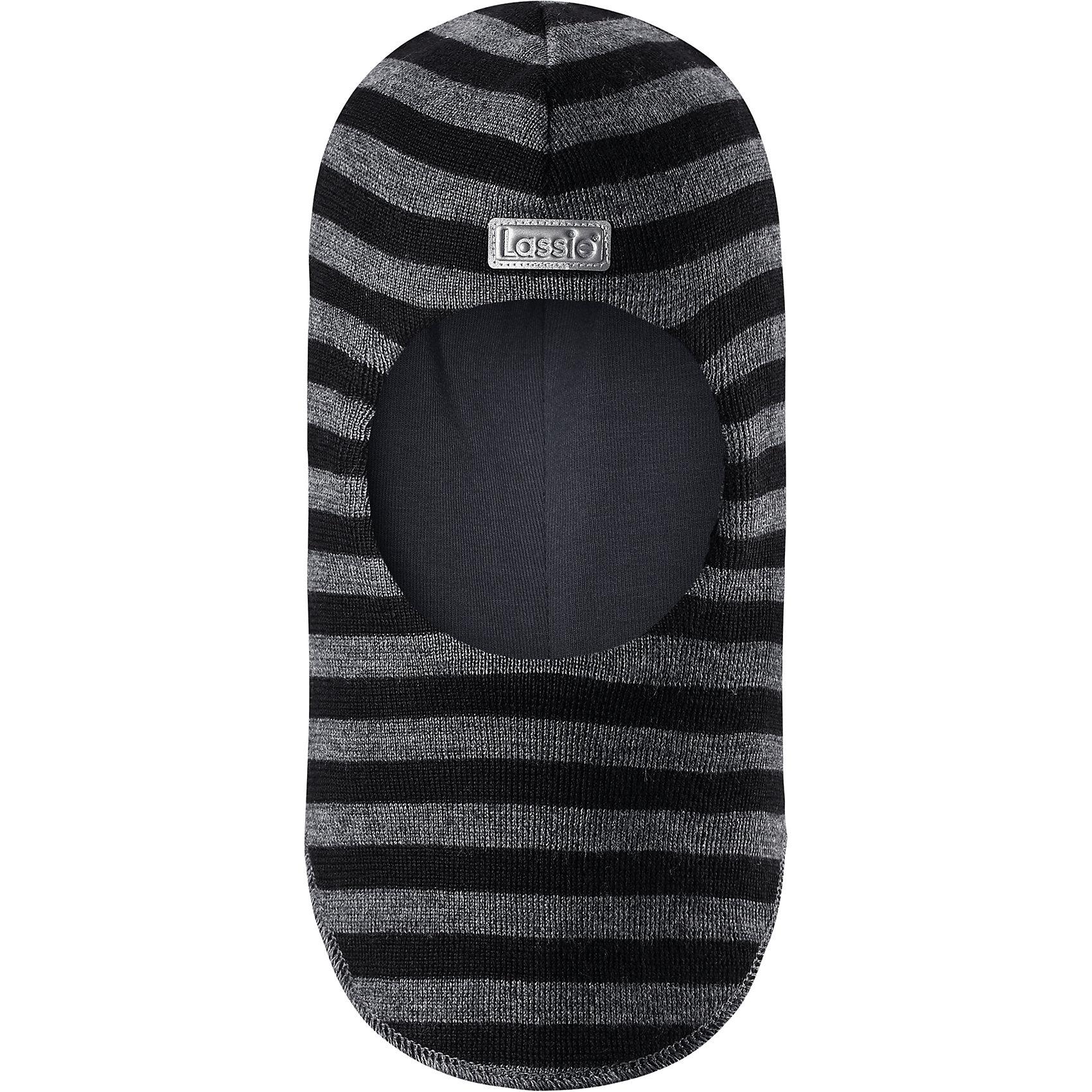 Шапка LassieШапки и шарфы<br>Вперед, полоски! Эта шапка-шлем для малышей и детей постарше изготовлена из нежной полушерстяной пряжи. Ветронепроницаемые вставки в области ушей защищают ушки во время зимних прогулок. Яркие цвета в сочетании со стильными полосками создают завершенный образ.<br>Состав:<br>50% Шерсть, 50% Полиакрил<br><br>Ширина мм: 89<br>Глубина мм: 117<br>Высота мм: 44<br>Вес г: 155<br>Цвет: черный<br>Возраст от месяцев: 72<br>Возраст до месяцев: 144<br>Пол: Унисекс<br>Возраст: Детский<br>Размер: 54-56,44-46,46-48,50-52<br>SKU: 6905667
