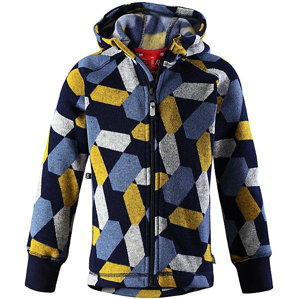 Флисовая кофта Reima NorthernОдежда<br>Характеристики товара:<br><br>• цвет: синий;<br>• состав: 100% полиэстер; <br>• сезон: демисезон;<br>• мягкий меланжевый флисовый трикотаж: выглядит, как обычный свитер, и обладает всеми преимуществами флиса;<br>• быстро сохнет и сохраняет тепло;<br>• эластичные манжеты;<br>• молния по всей длине с защитой подбородка;<br>• два боковых кармана;<br>• карман с креплениями для сенсора ReimaGO®;<br>• страна бренда: Финляндия;<br>• страна изготовитель: Китай;<br><br>Кофта из вязаного флиса превосходно послужит в качестве промежуточного слоя во время активных зимних прогулок, кроме того она очень мягкая на ощупь. Она сшита из теплого, дышащего и быстросохнущего материала. Молния во всю длину облегчает надевание, а защита для подбородка не даст поцарапаться о зубчики. Снабжена двумя боковыми карманами и специальным потайным карманом с кнопками для сенсора ReimaGO®. Эта модная детская модель украшена сплошным рисунком и оснащена несъемным капюшоном.<br><br>Флисовую кофту Reima Northern (Рейма) можно купить в нашем интернет-магазине.<br>Ширина мм: 190; Глубина мм: 74; Высота мм: 229; Вес г: 236; Цвет: синий; Возраст от месяцев: 144; Возраст до месяцев: 156; Пол: Унисекс; Возраст: Детский; Размер: 158,152,164,104,110,116,122,128,134,140,146; SKU: 6906001;
