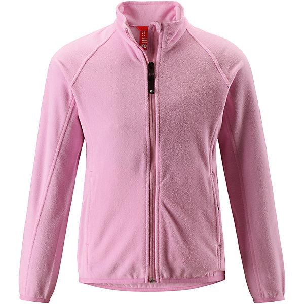 Флисовая кофта Reima Alagna для девочкиОдежда<br>Характеристики товара:<br><br>• цвет: розовый;<br>• состав: 100% полиэстер; <br>• сезон: демисезон;<br>• выводит влагу в верхние слои одежды;<br>• теплый, легкий и быстросохнущий флис;<br>• эластичные манжеты и подол;<br>• молния по всей длине с защитой подбородка;<br>• два кармана на молнии;<br>• страна бренда: Финляндия;<br>• страна изготовитель: Китай;<br><br>Эта детская флисовая куртка сшита из необыкновенно легкого и теплого микрофлиса. Материал идеально подходит для зимних активных забав, поскольку эффективно выводит влагу от кожи в верхние слои одежды и быстро сохнет. Дышащий материал не парит, сколько ни бегай. Защита для подбородка на молнии обеспечивает дополнительный комфорт и не дает поцарапаться об зубчики. Куртка украшена горячим тиснением и снабжена двумя карманами на молнии, а также эластичным подолом и манжетами.<br><br>Флисовую кофту Alagna для девочки Reima (Рейма) можно купить в нашем интернет-магазине.<br>Ширина мм: 190; Глубина мм: 74; Высота мм: 229; Вес г: 236; Цвет: розовый; Возраст от месяцев: 36; Возраст до месяцев: 48; Пол: Женский; Возраст: Детский; Размер: 104,110,116,122,128,134,140,146,152,158,164; SKU: 6906281;